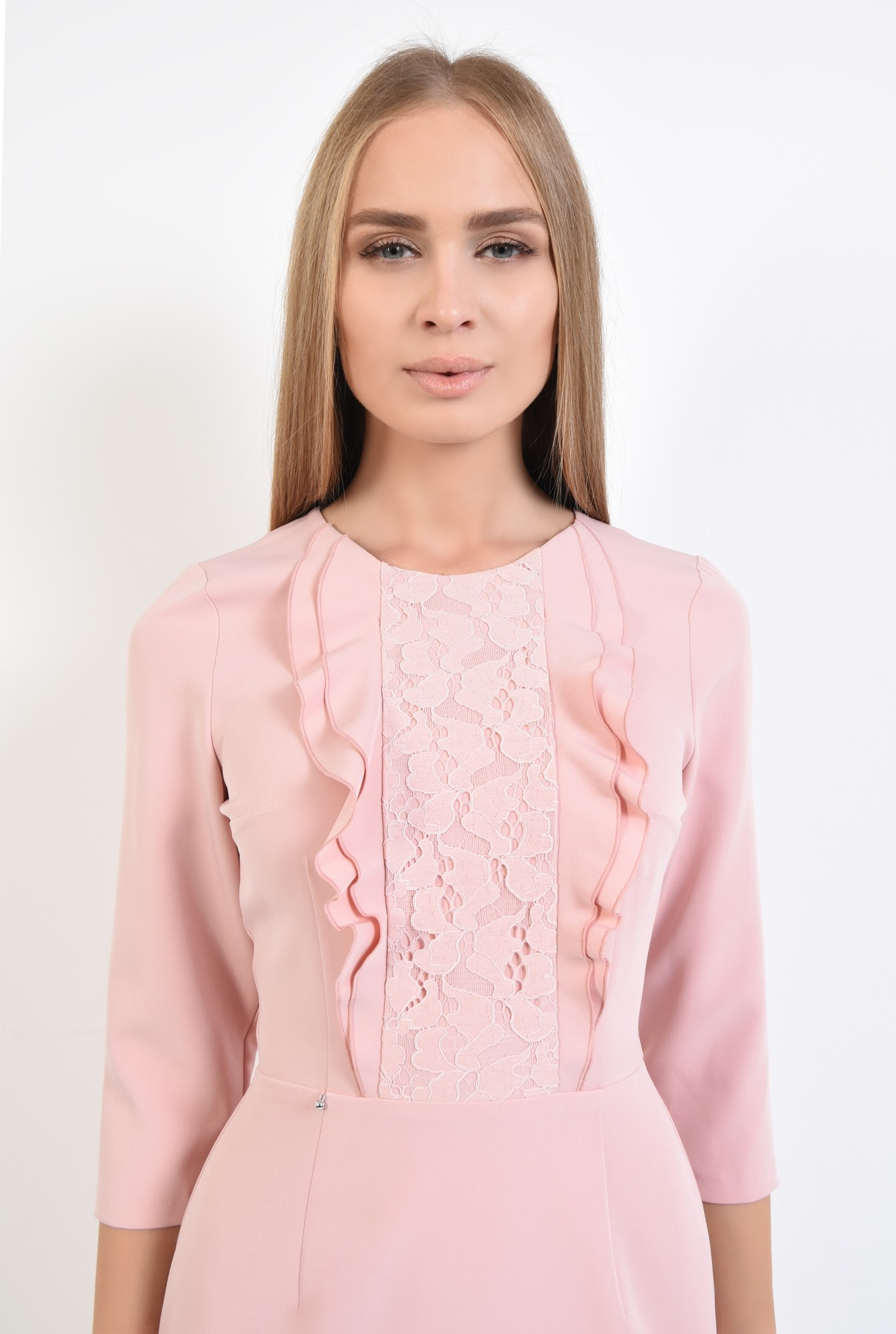 2 - rochie de ocazie, scurta, roz, volane, decolteu rotund