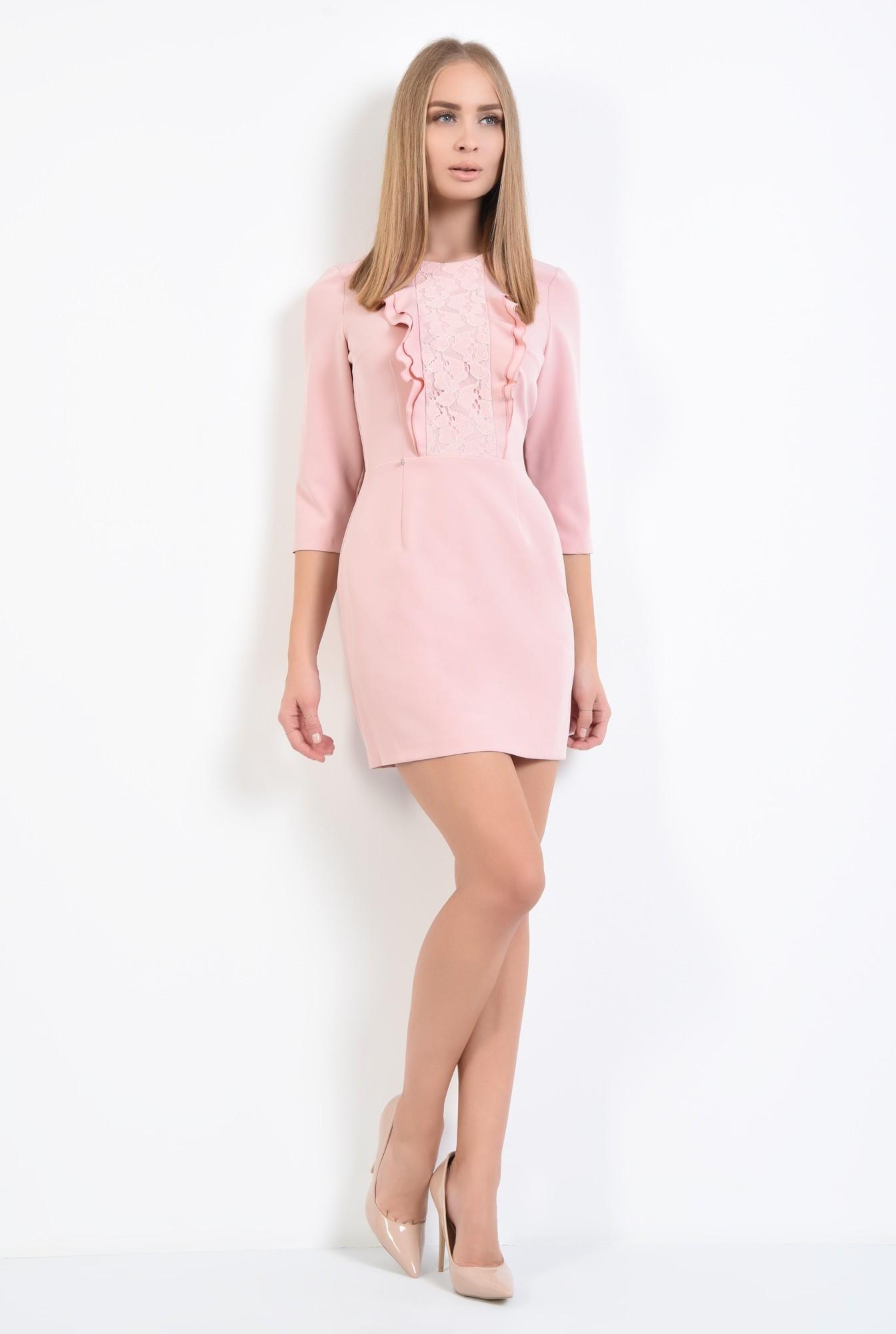 3 - rochie de ocazie, scurta, roz, volane, decolteu rotund