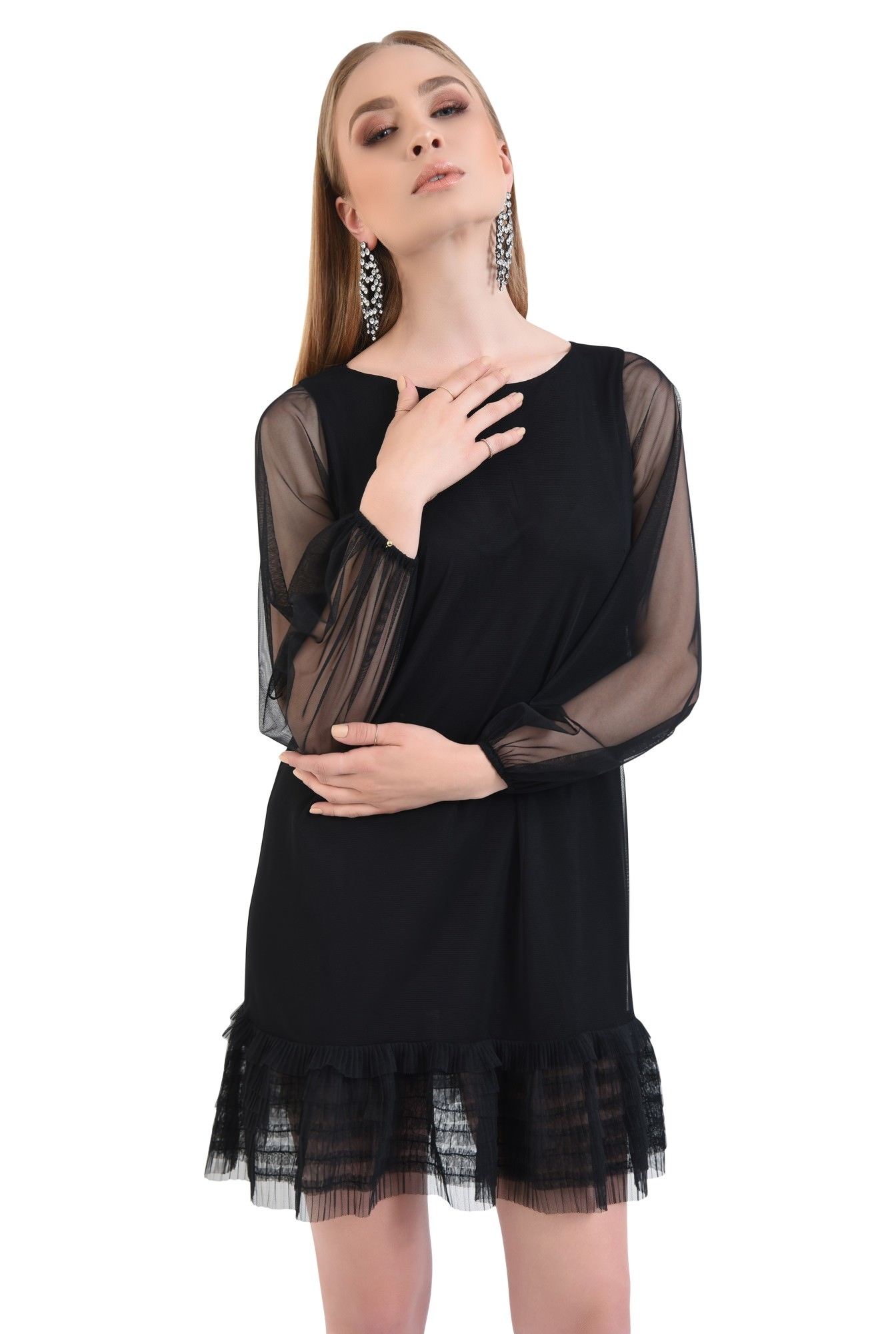 0 - Rochie de seara, tulle negru
