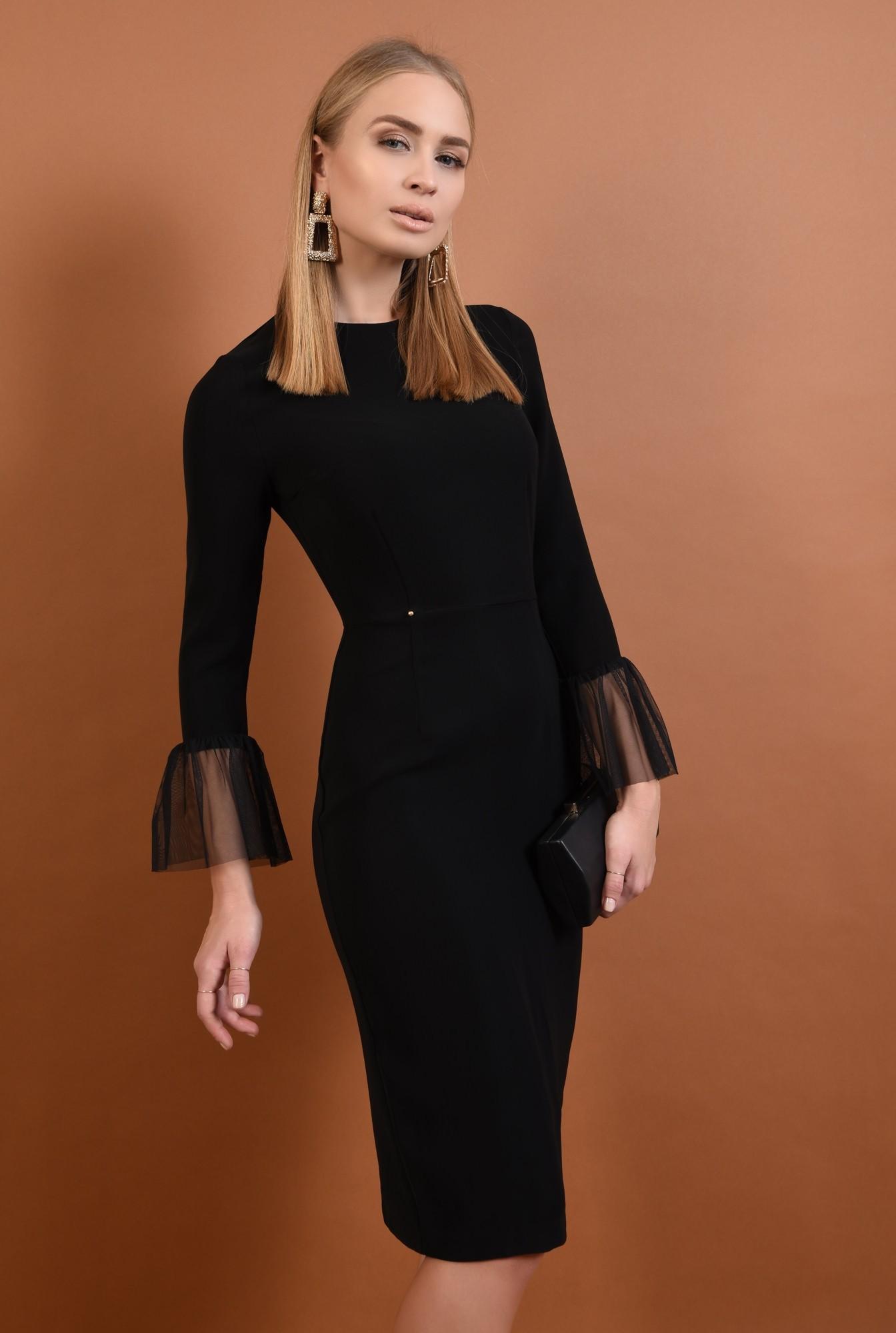 0 - 360 - rochie eleganta, bodycon, mansete transparente, rochii online, tul