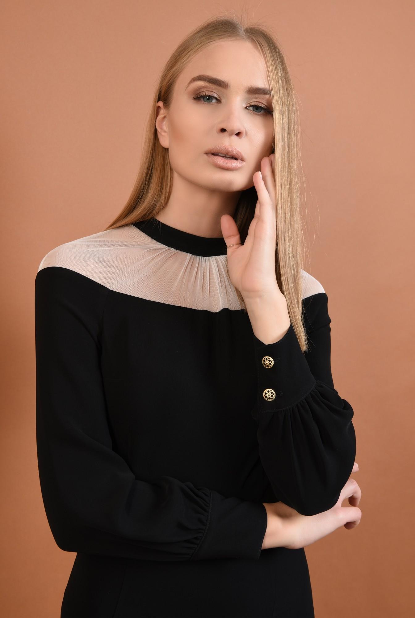 2 - 360 - rochie eleganta, midi, conica, neagra, insertie tul, nasturi metalici