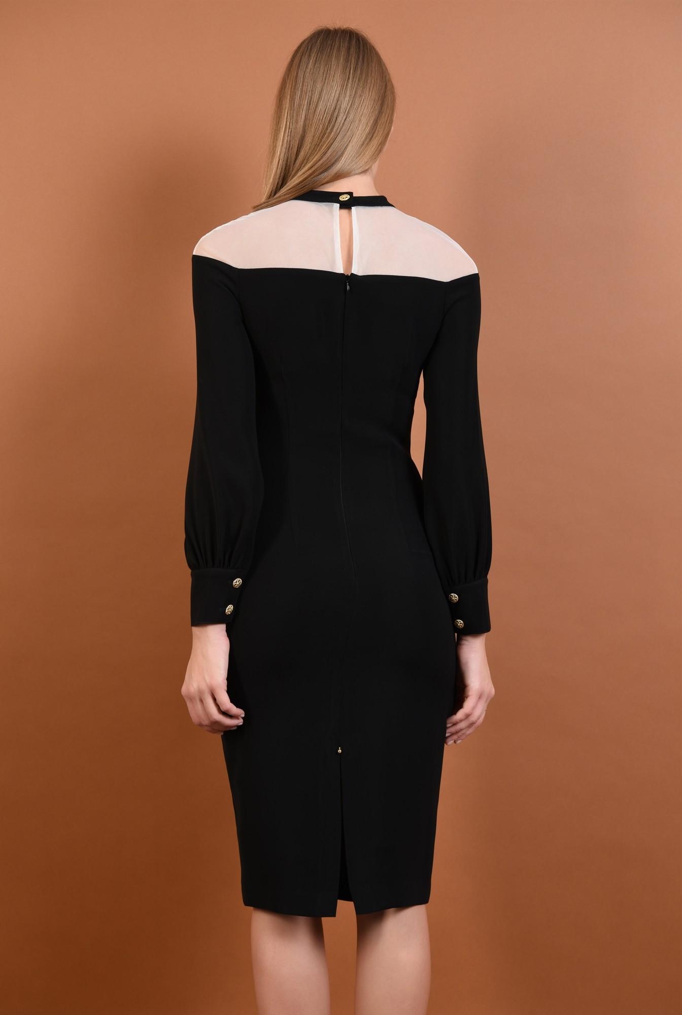 1 - 360 - rochie eleganta, midi, conica, neagra, insertie tul, nasturi metalici