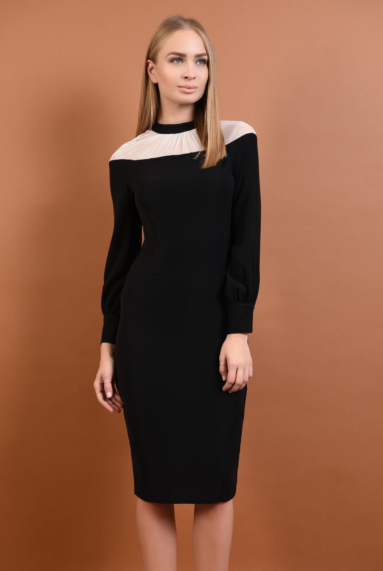0 - 360 - rochie eleganta, midi, conica, neagra, insertie tul, nasturi metalici
