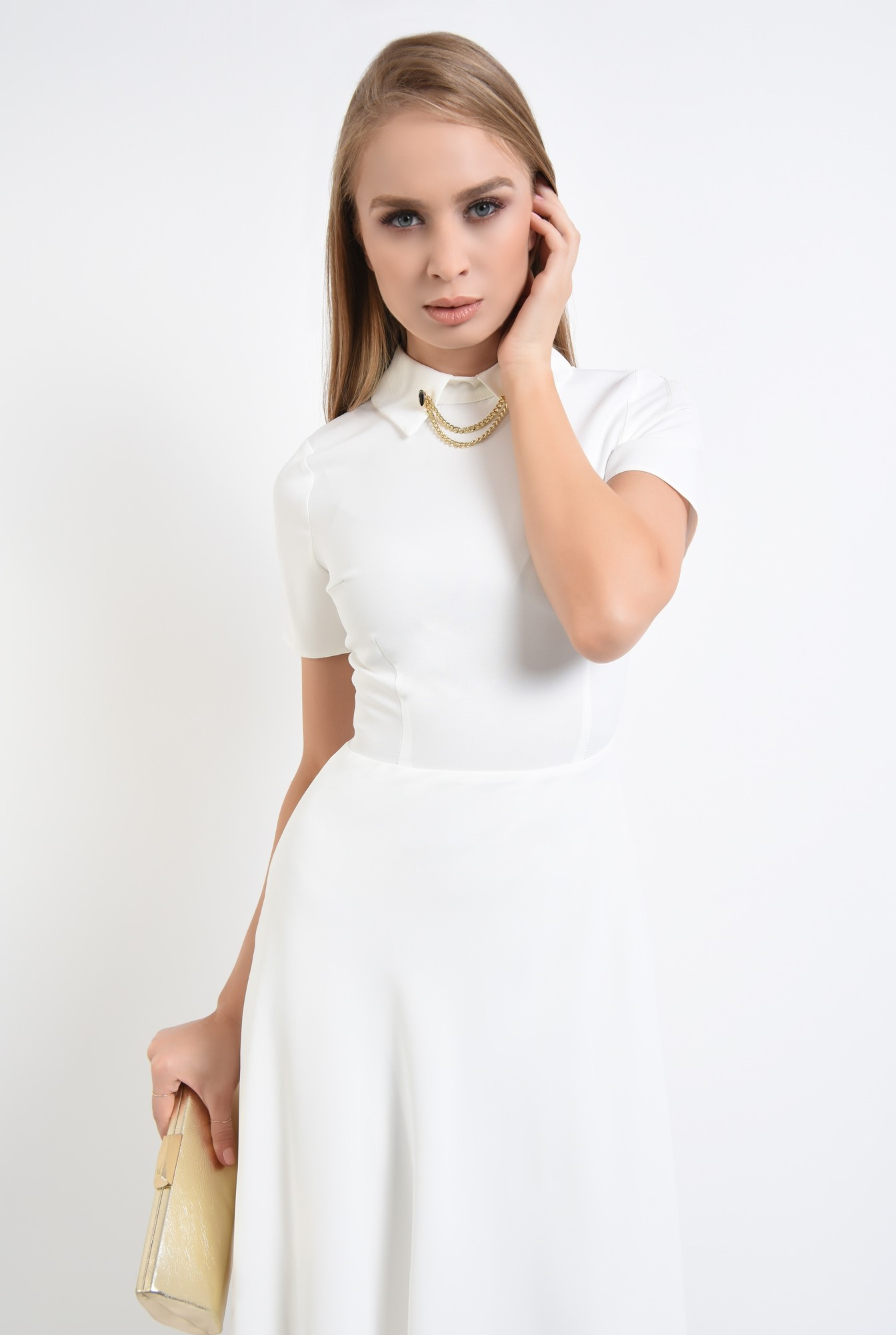 2 - 360 - rochie alba eleganta, bie, lungime medie