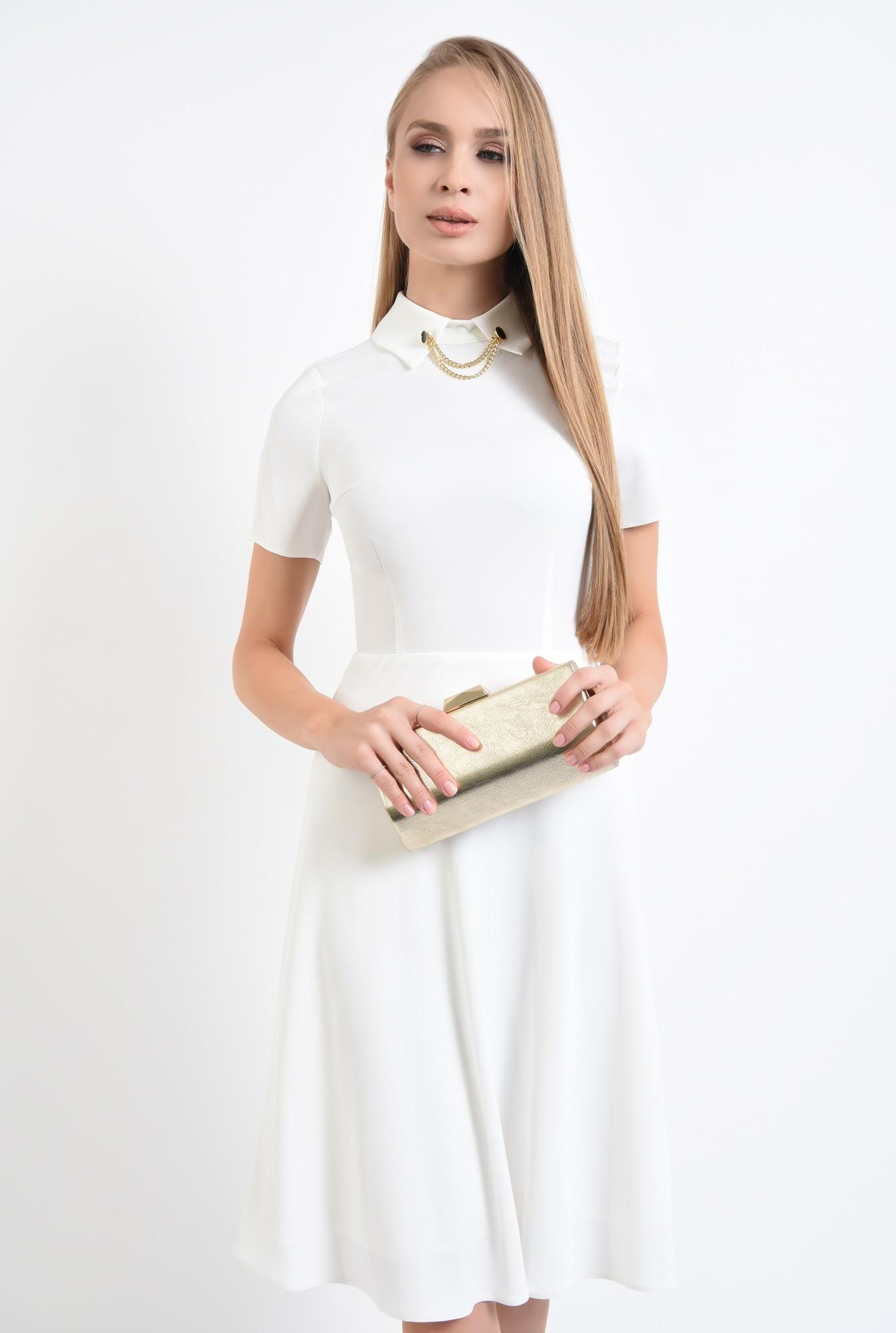 0 - 360 - rochie alba eleganta, bie, lungime medie