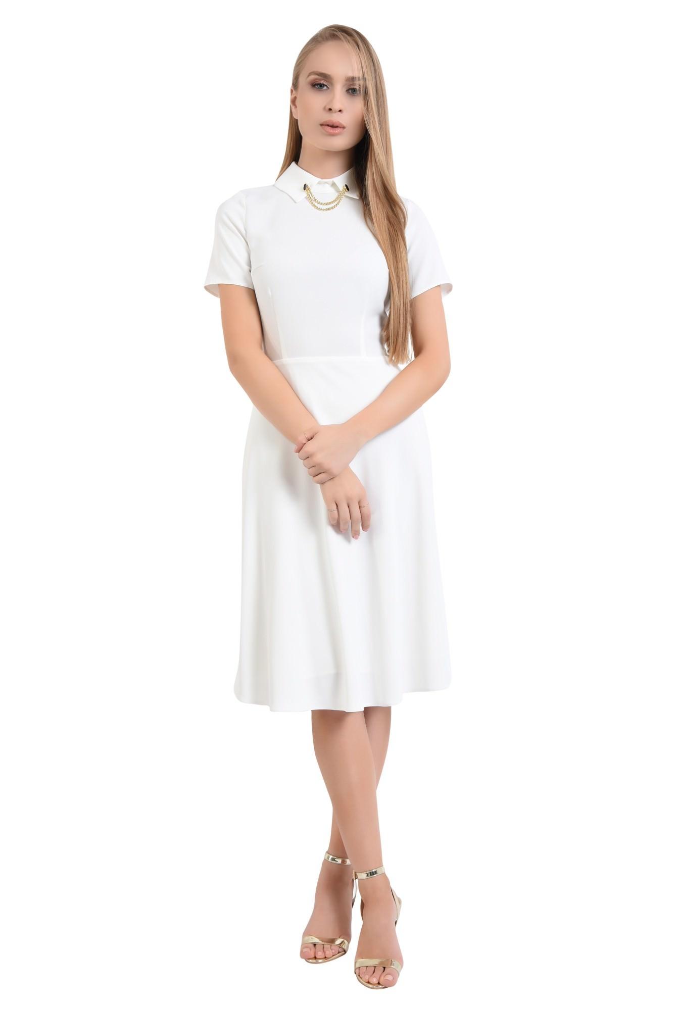 3 - 360 - rochie alba eleganta, bie, lungime medie