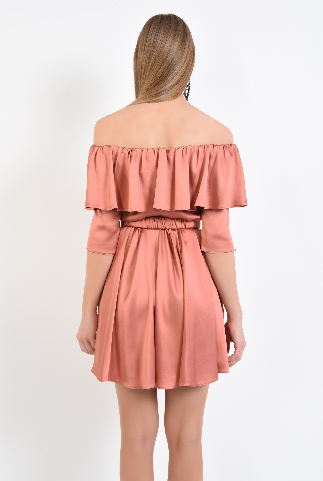 1 - rochie eleganta, scurta, clos, satin, curea
