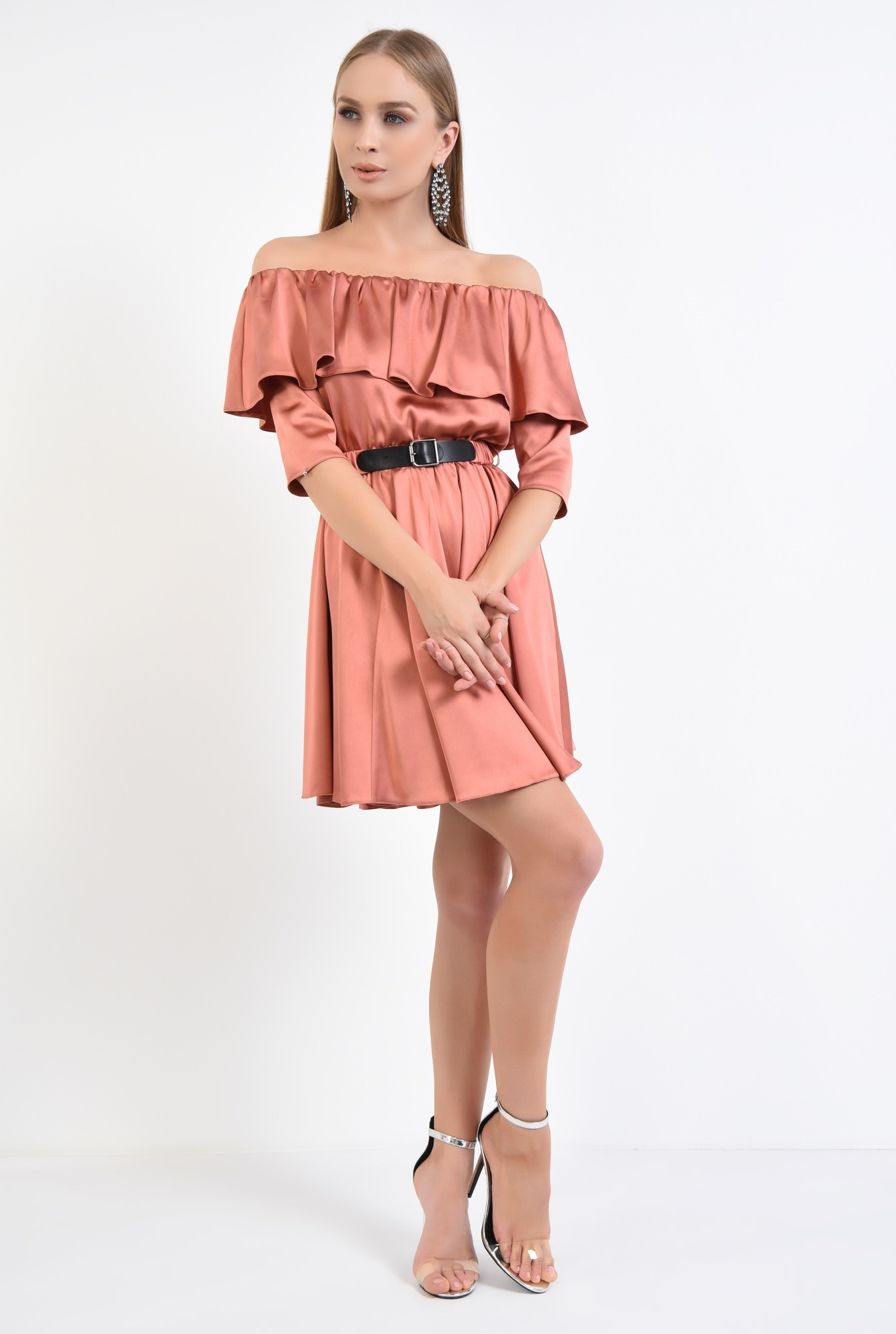 3 - rochie eleganta, scurta, clos, satin, curea