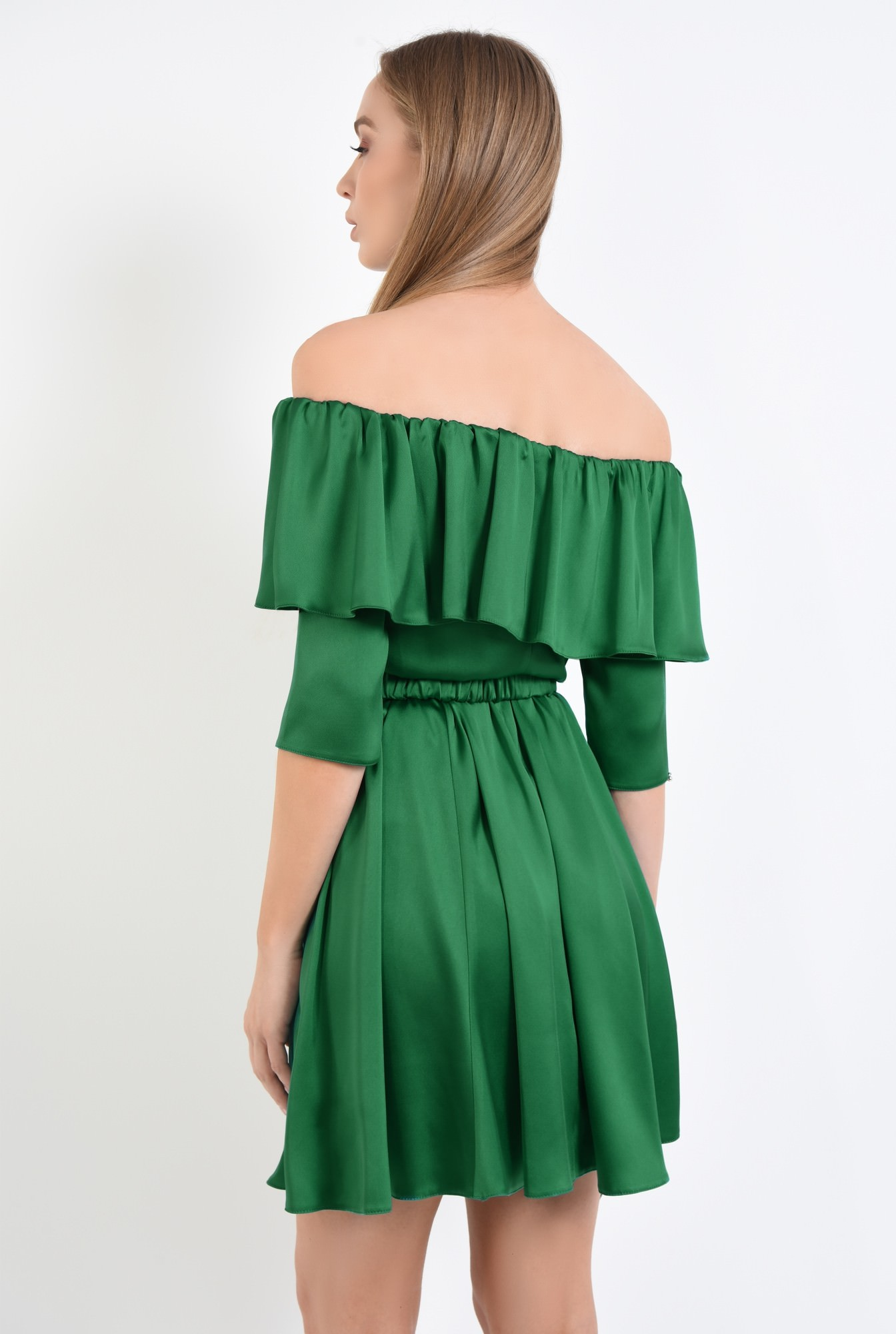1 - rochie de seara, cloche, curea, satin, verde