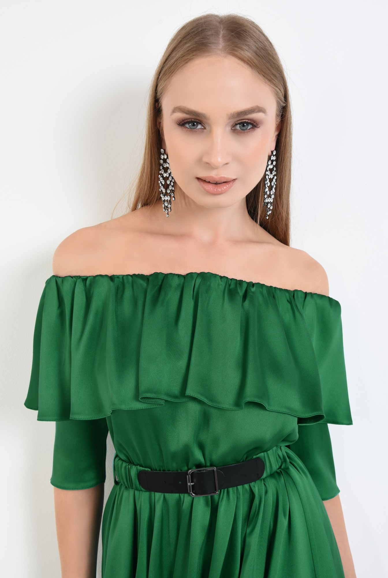 2 - rochie de seara, cloche, curea, satin, verde