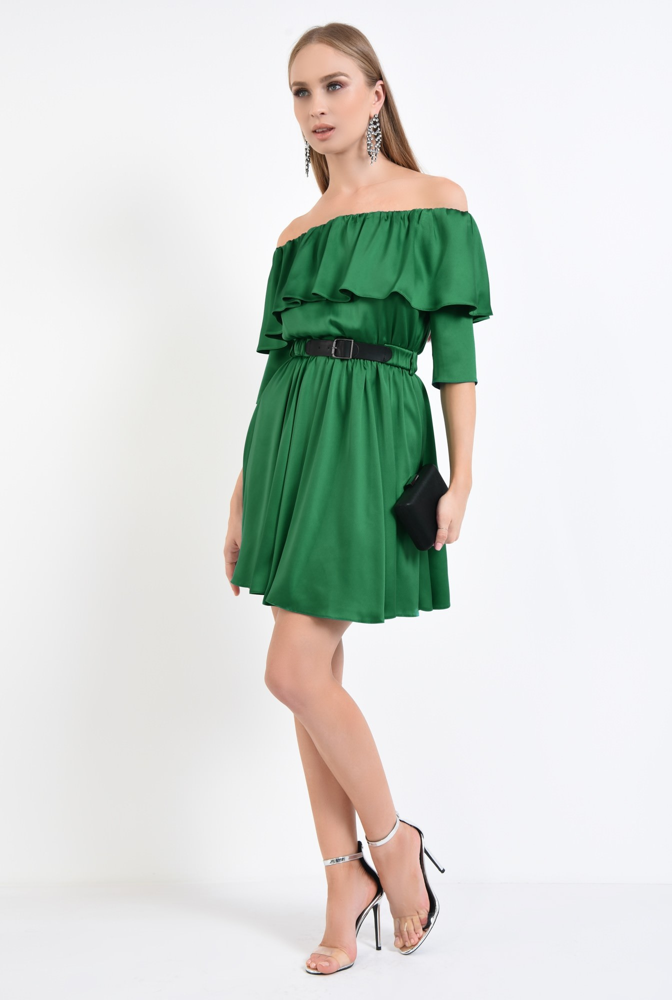 3 - rochie de seara, cloche, curea, satin, verde