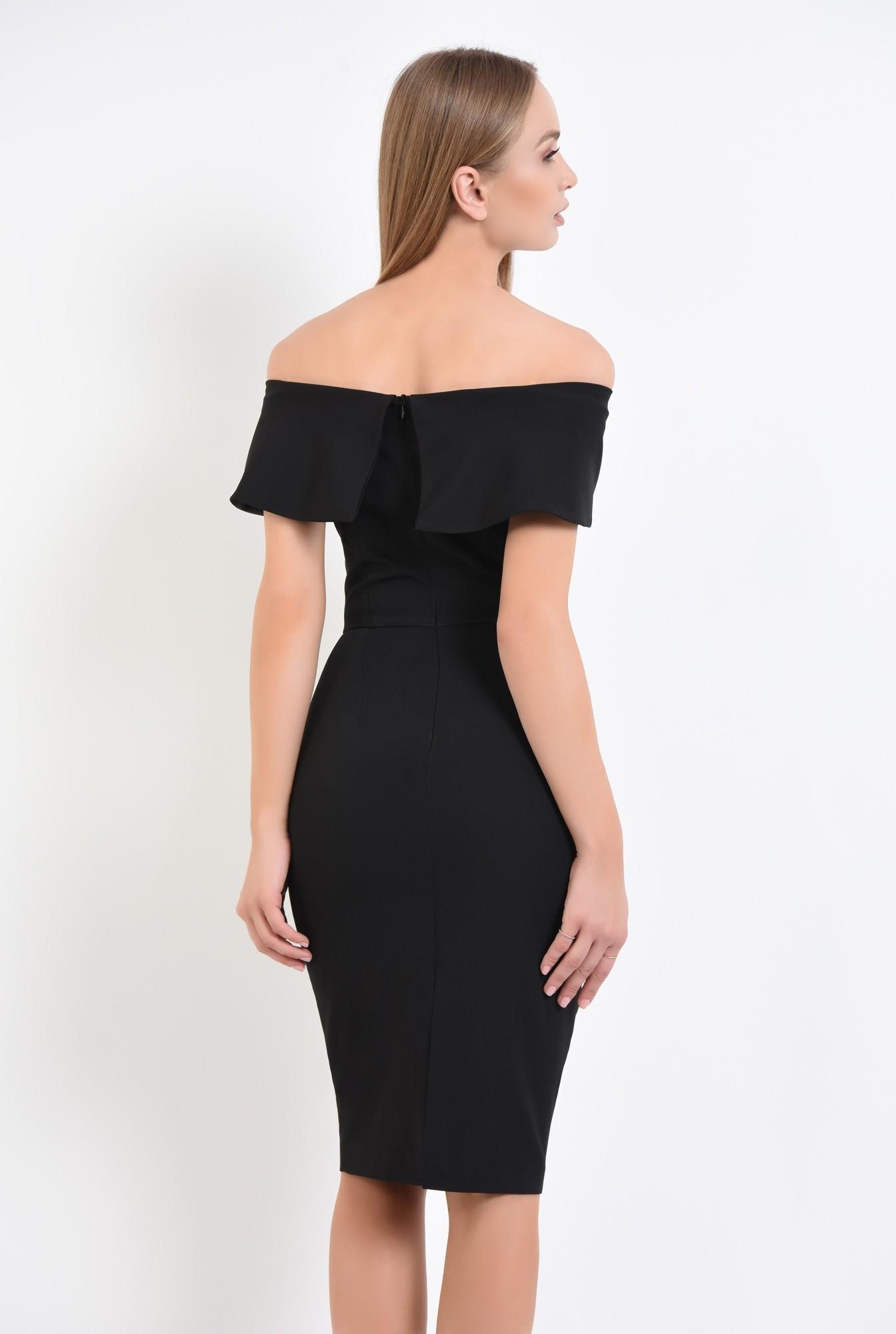1 - rochie de seara, neagra, conica, cu funda