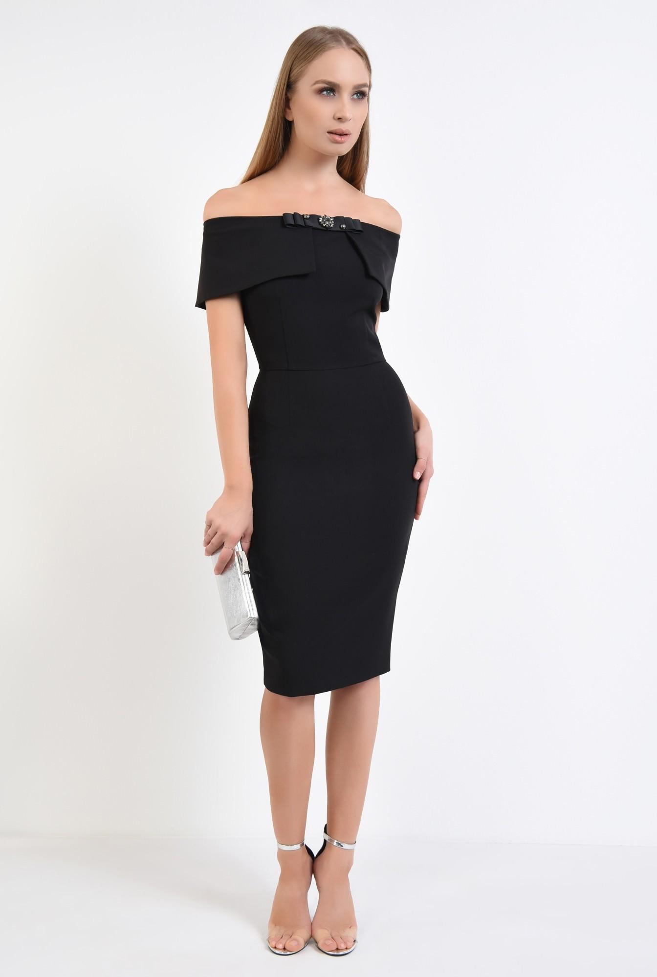 3 - rochie de seara, neagra, conica, cu funda