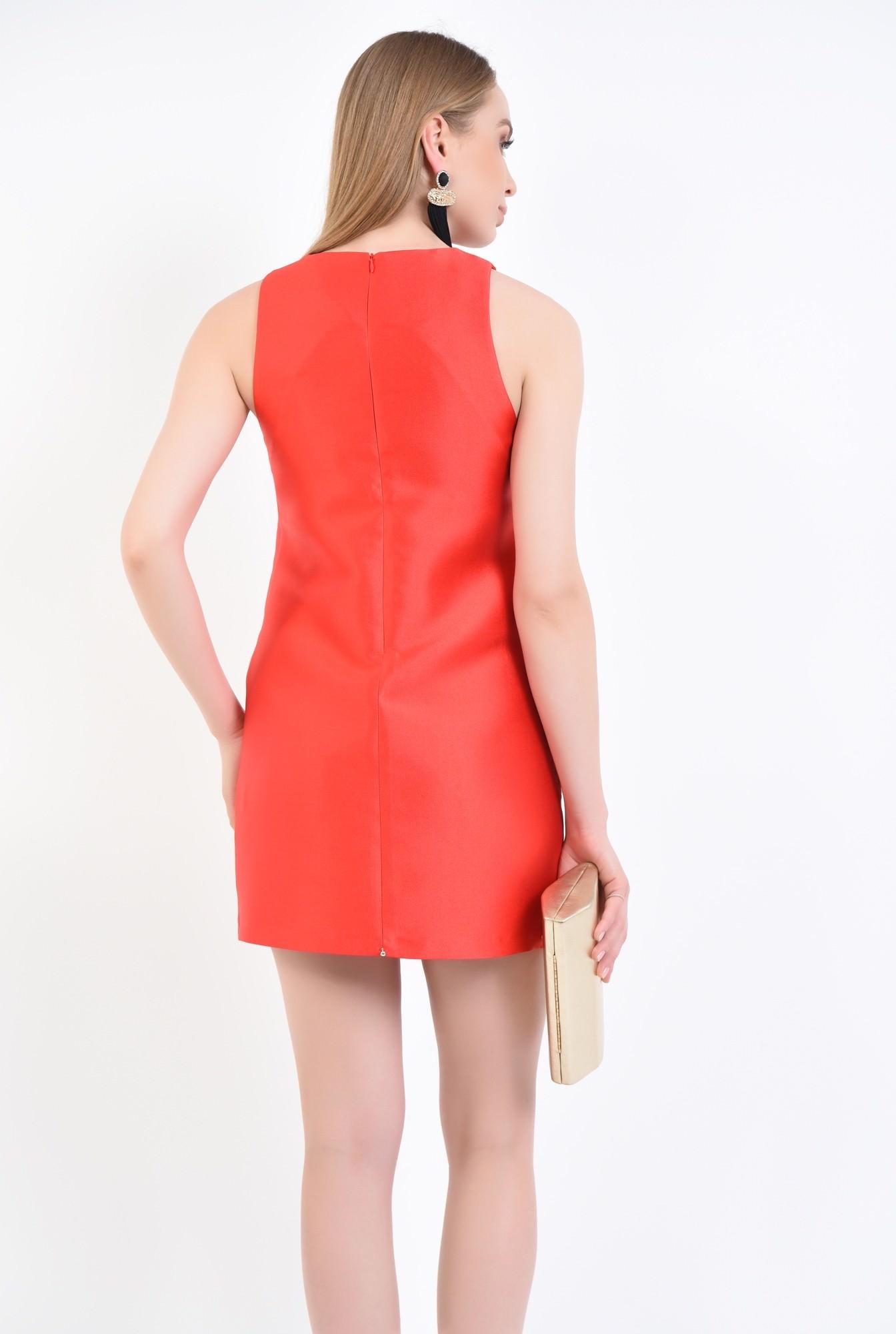 1 - rochie eleganta, scurta, tafta, rosie