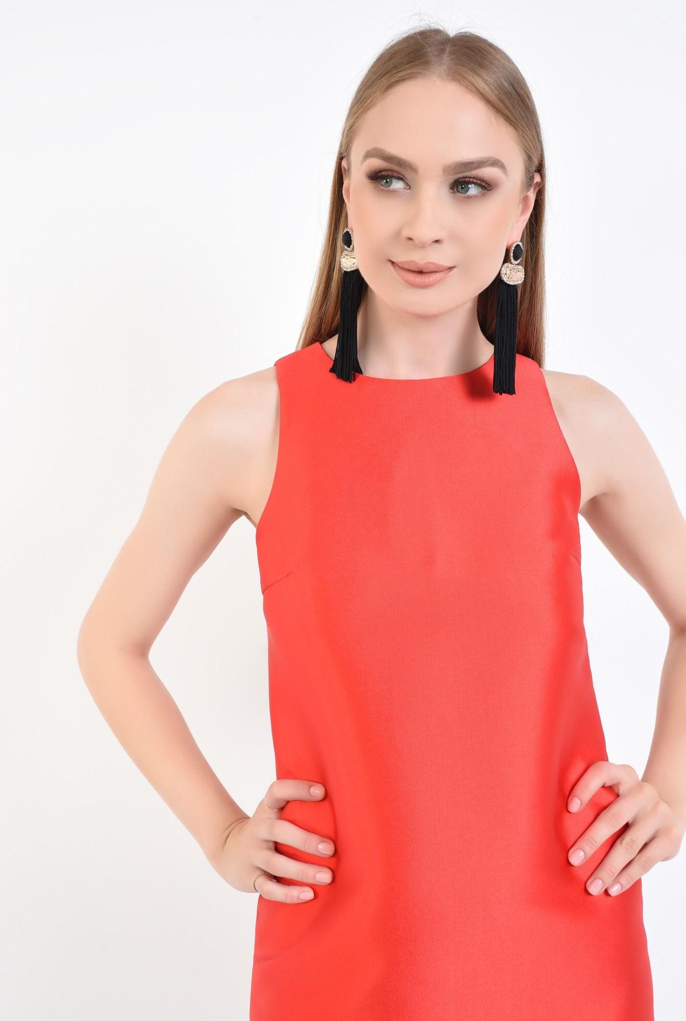 2 - rochie eleganta, scurta, tafta, rosie