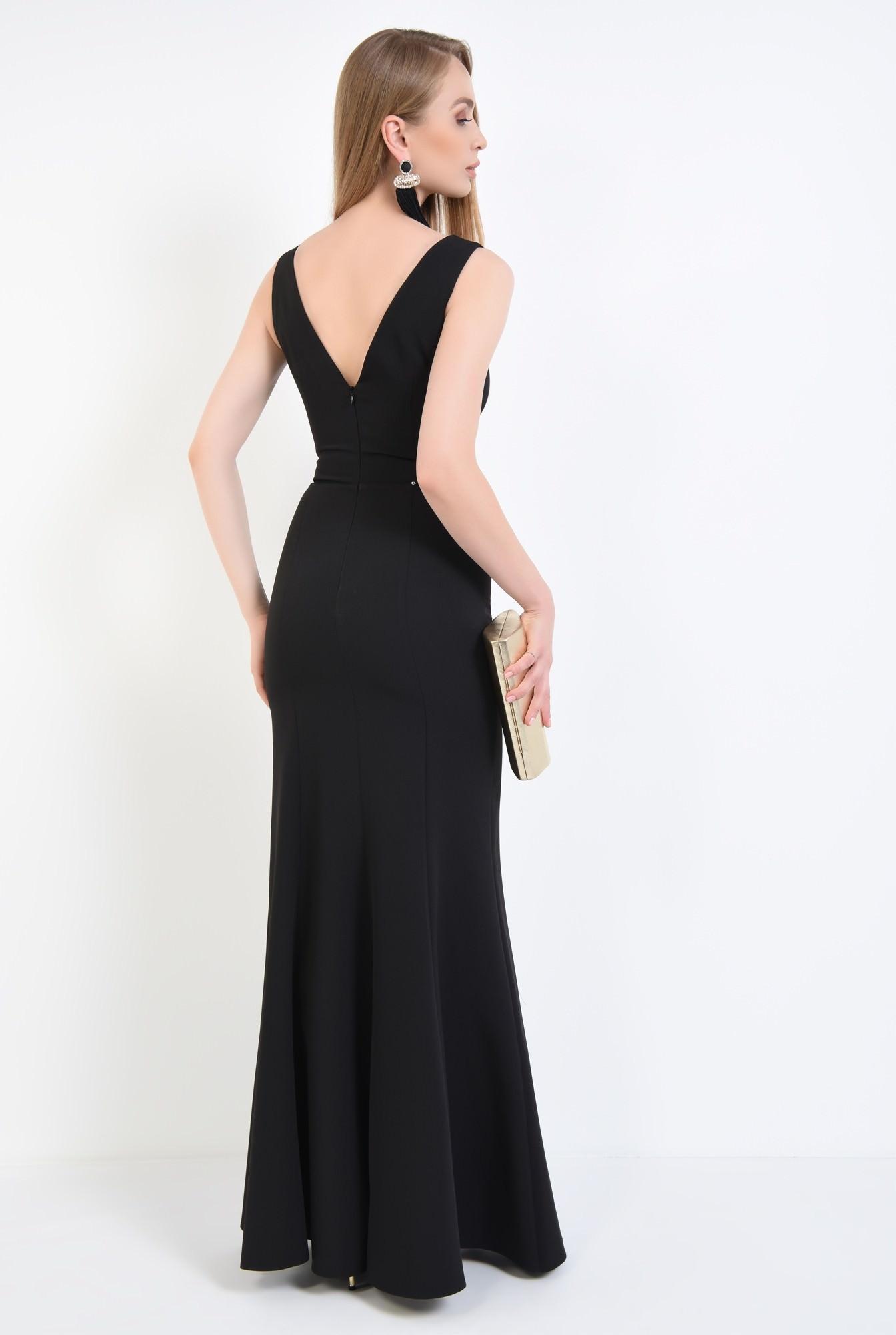 1 - rochie de seara, decolteu, anchior, negru, slit