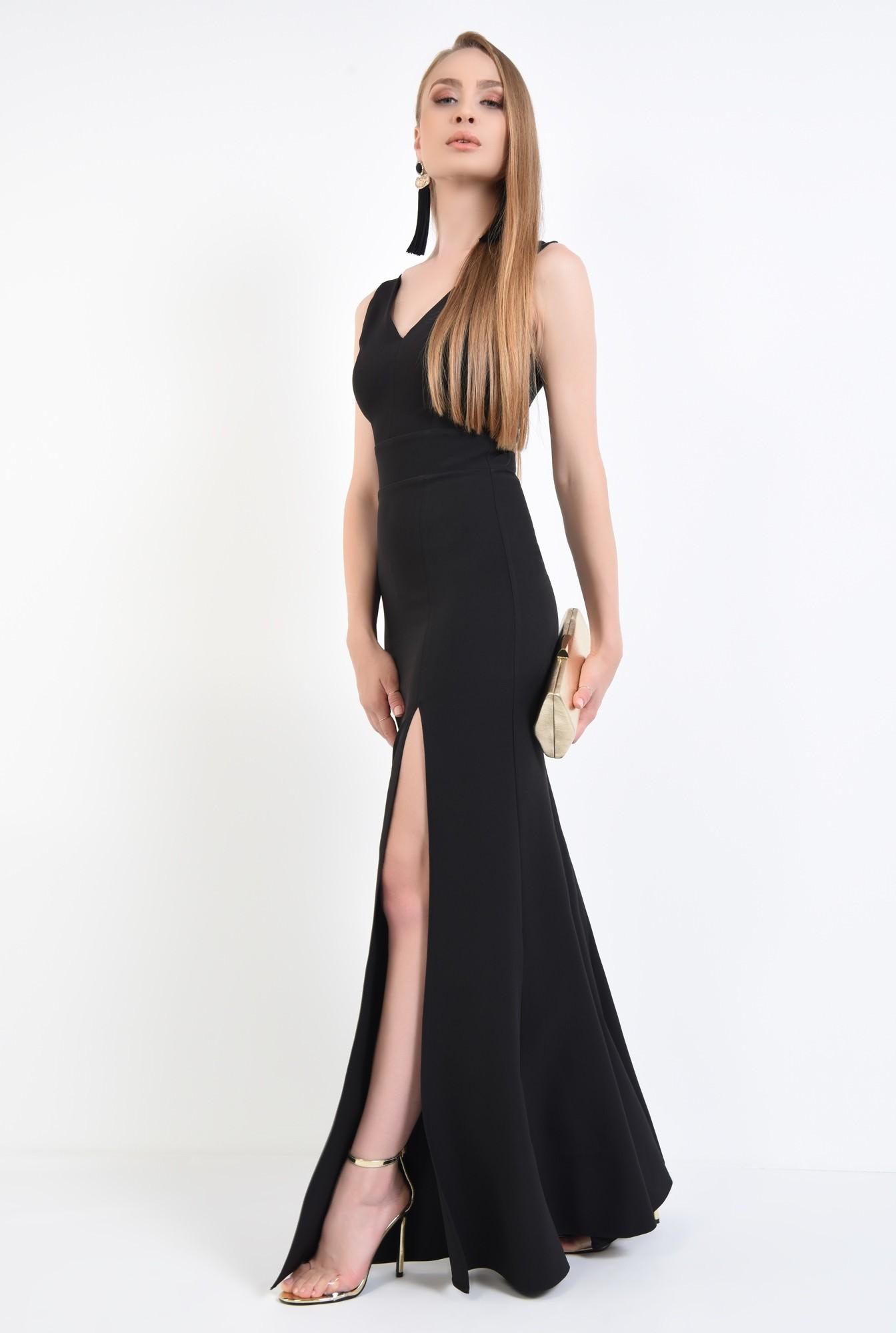 3 - rochie de seara, decolteu, anchior, negru, slit