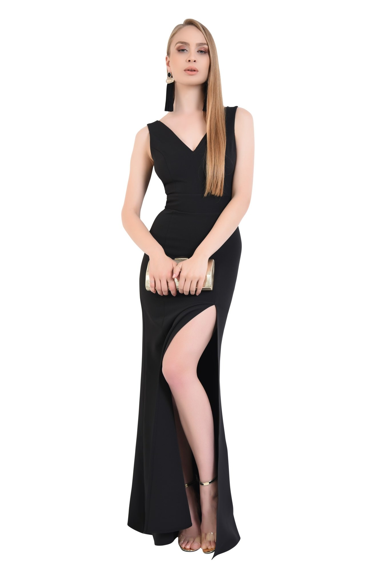 0 - rochie de seara, decolteu, anchior, negru, slit