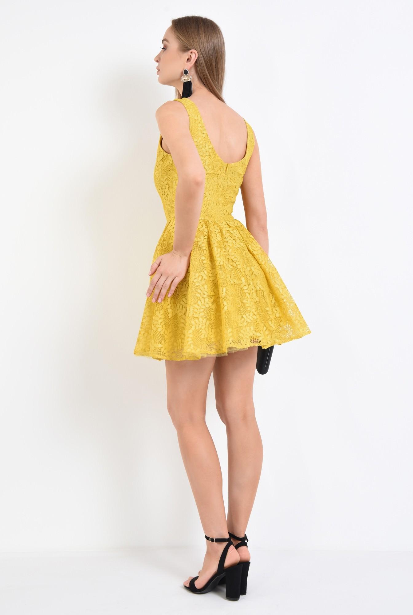 1 - 360 - rochie de seara, dantela galbena, cloche, rochii online