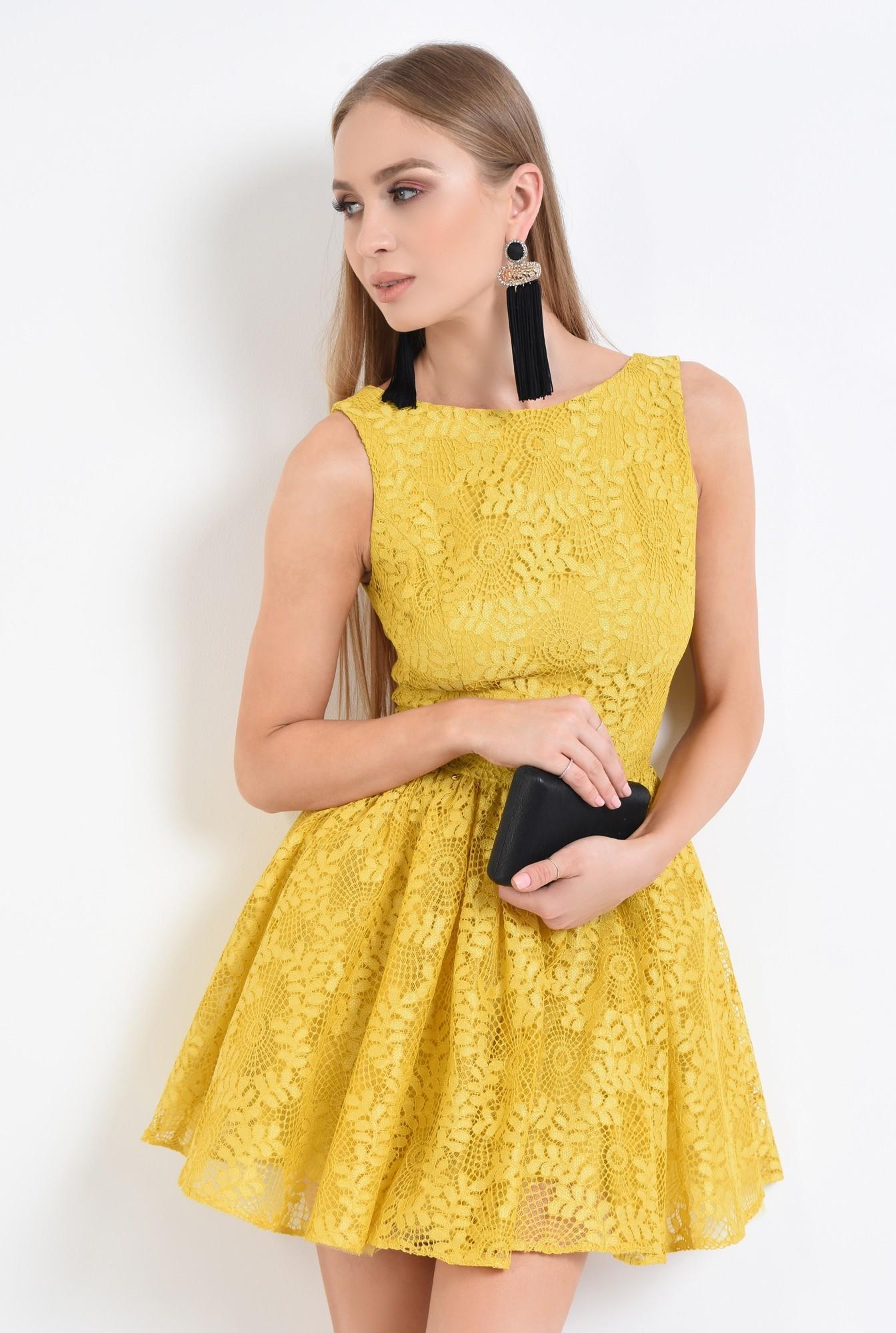 0 - 360 - rochie de seara, dantela galbena, cloche, rochii online