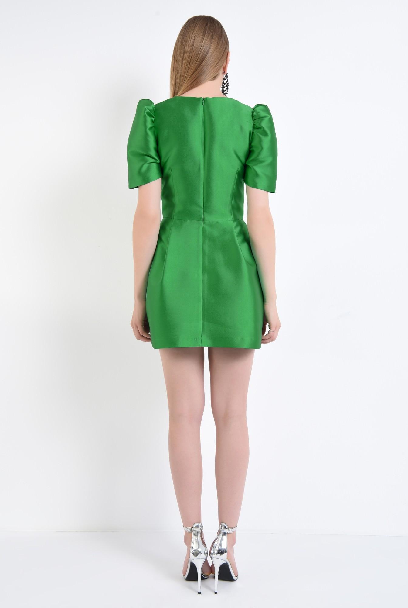 1 - rochie eleganta, scurta, croiala cloche, verde
