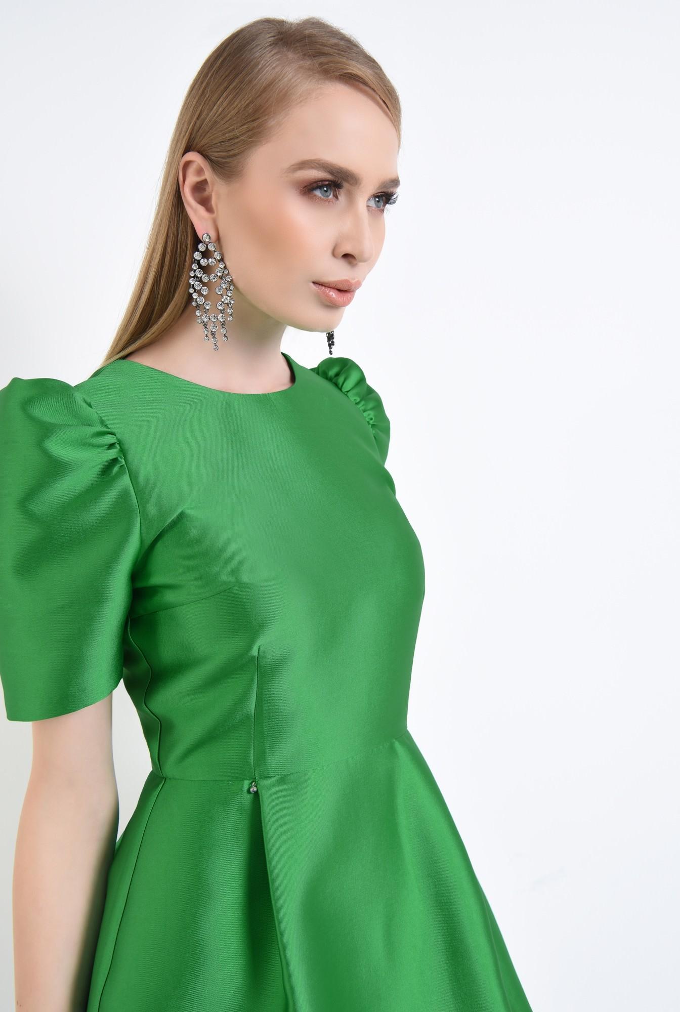 2 - rochie eleganta, scurta, croiala cloche, verde