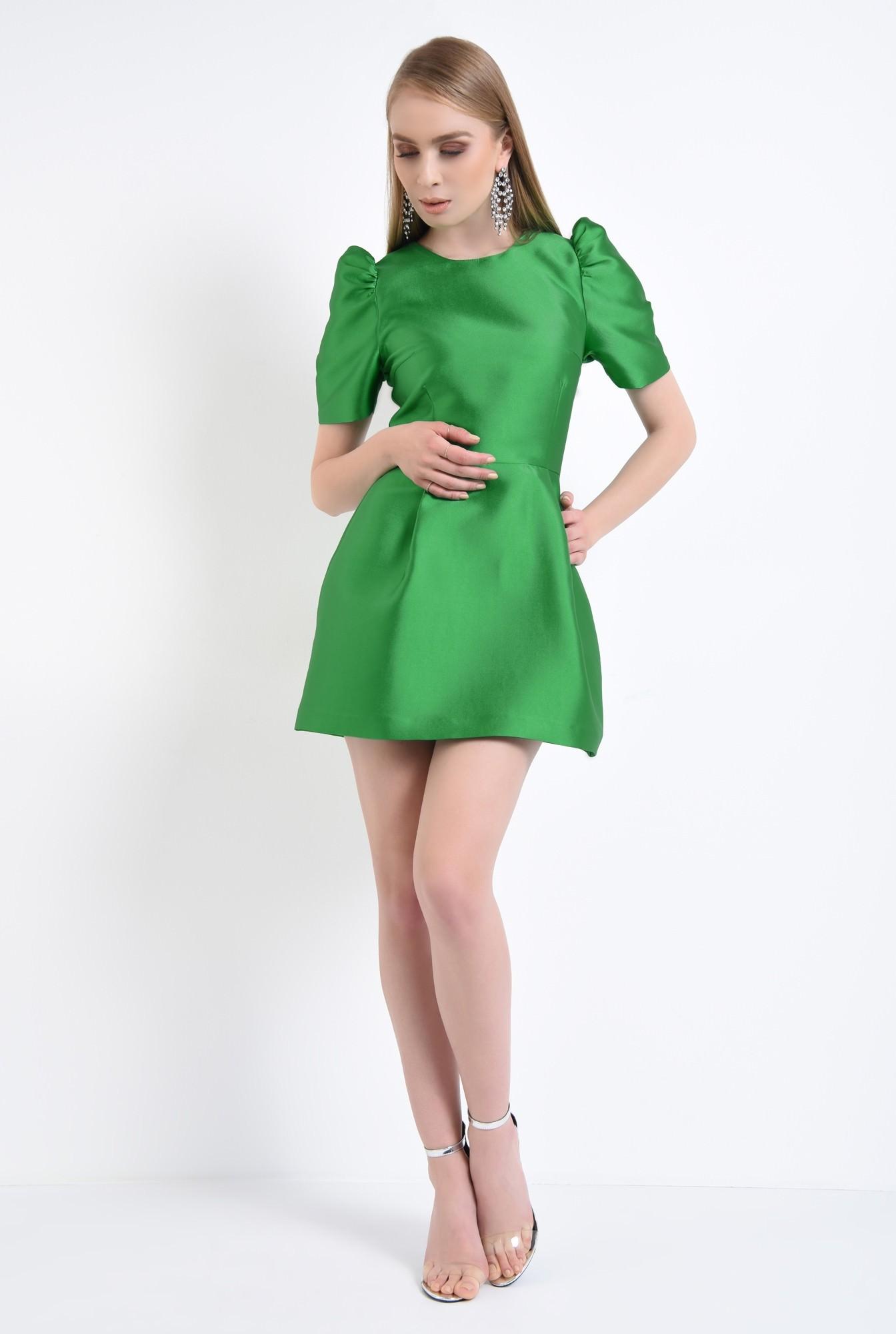 3 - rochie eleganta, scurta, croiala cloche, verde