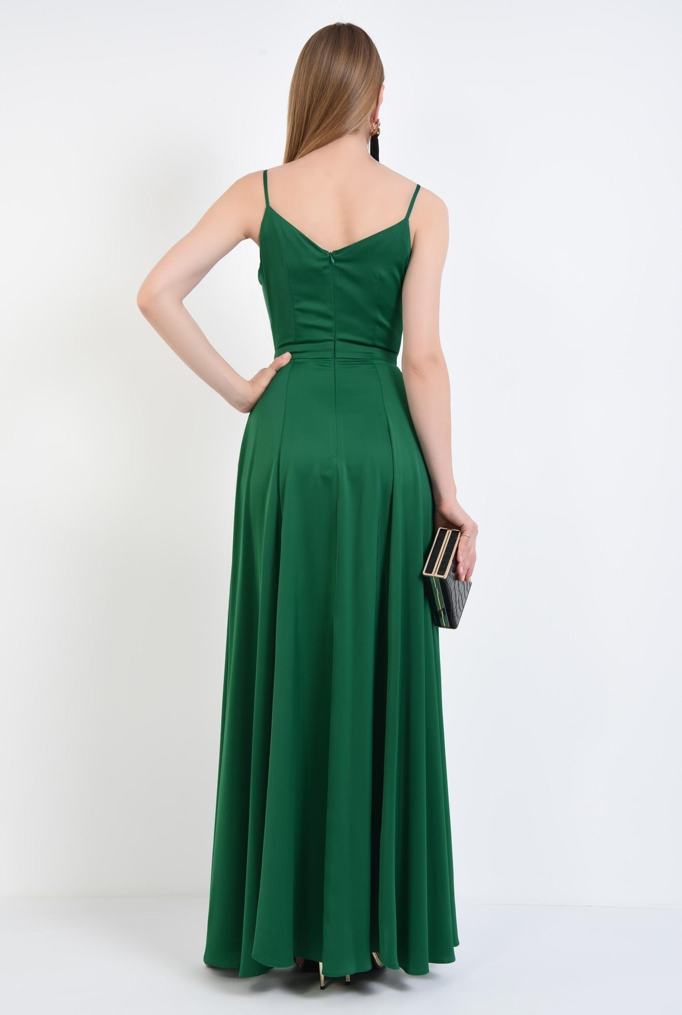 1 - rochie de seara, slit adanc, verde, smarald, bretele subtiri