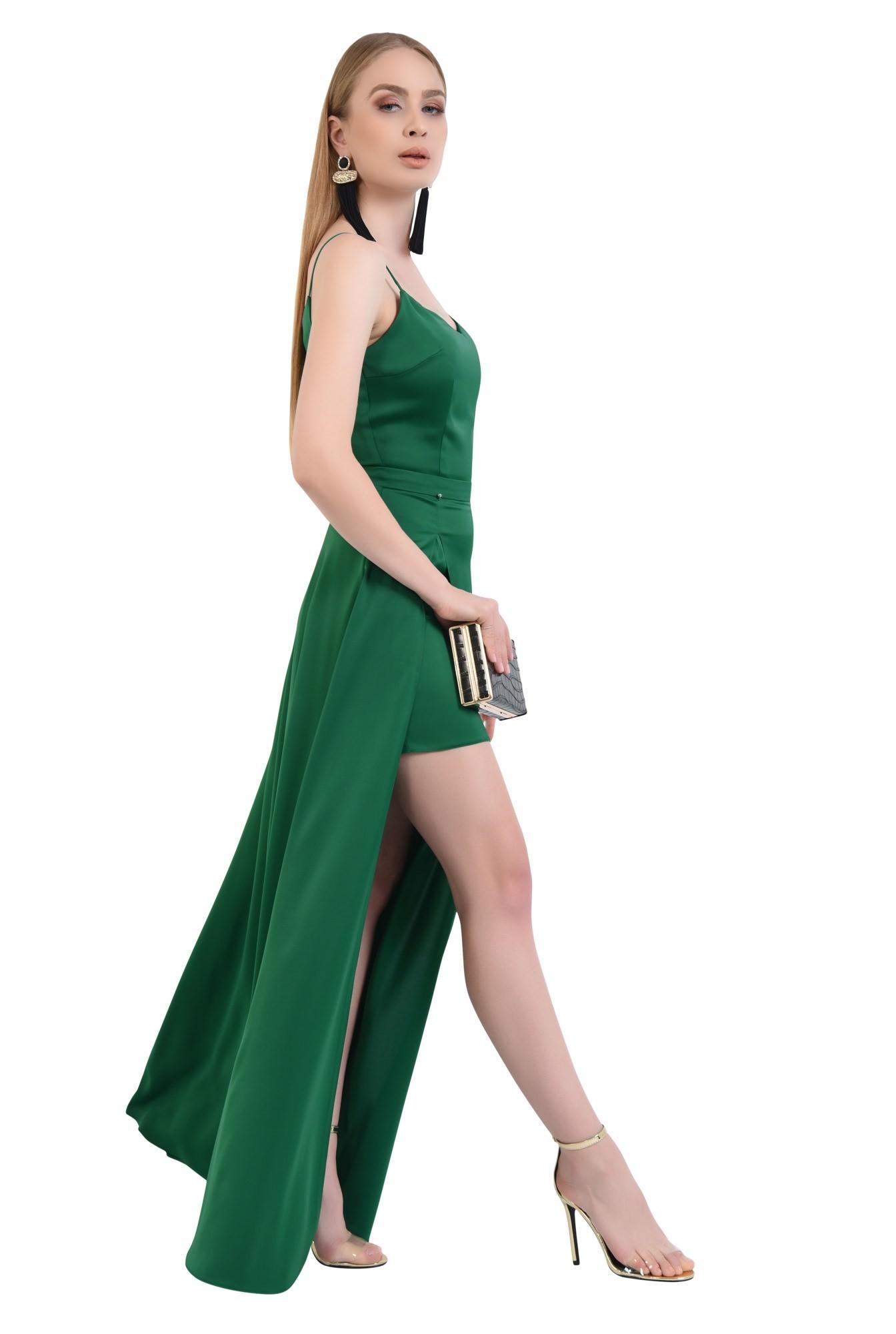 0 - rochie de seara, slit adanc, verde, smarald, bretele subtiri