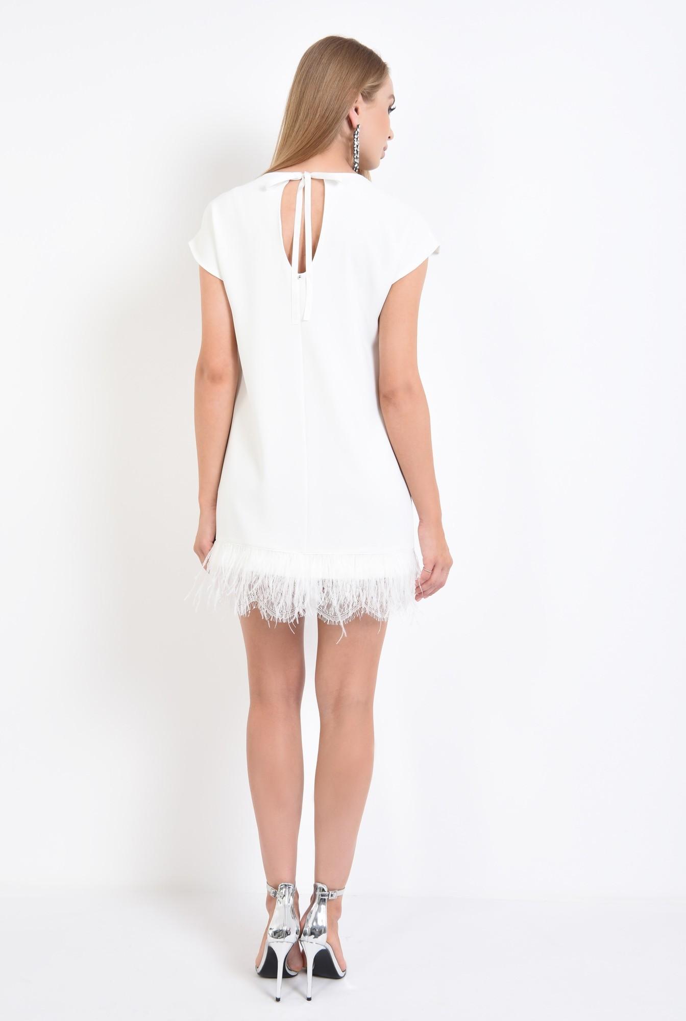 1 - rochie eleganta, scurta, alba, pene de strut