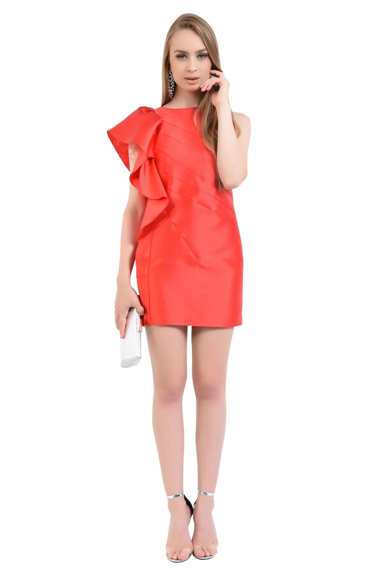 3 - 360 - rochie scurta de seara, decolteu rotund, tafta rosie