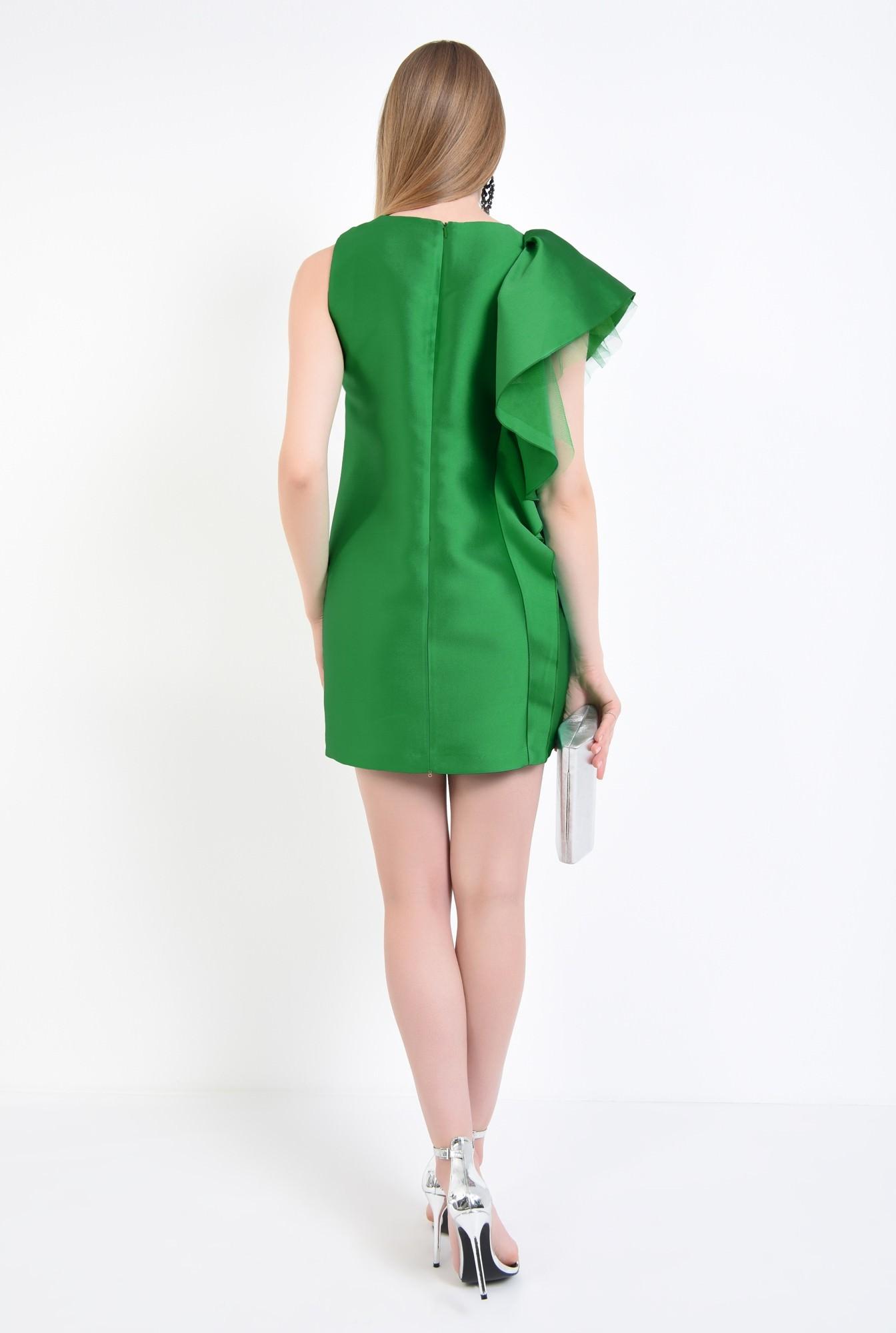 1 - rochie de ocazie, tafta, verde, volan