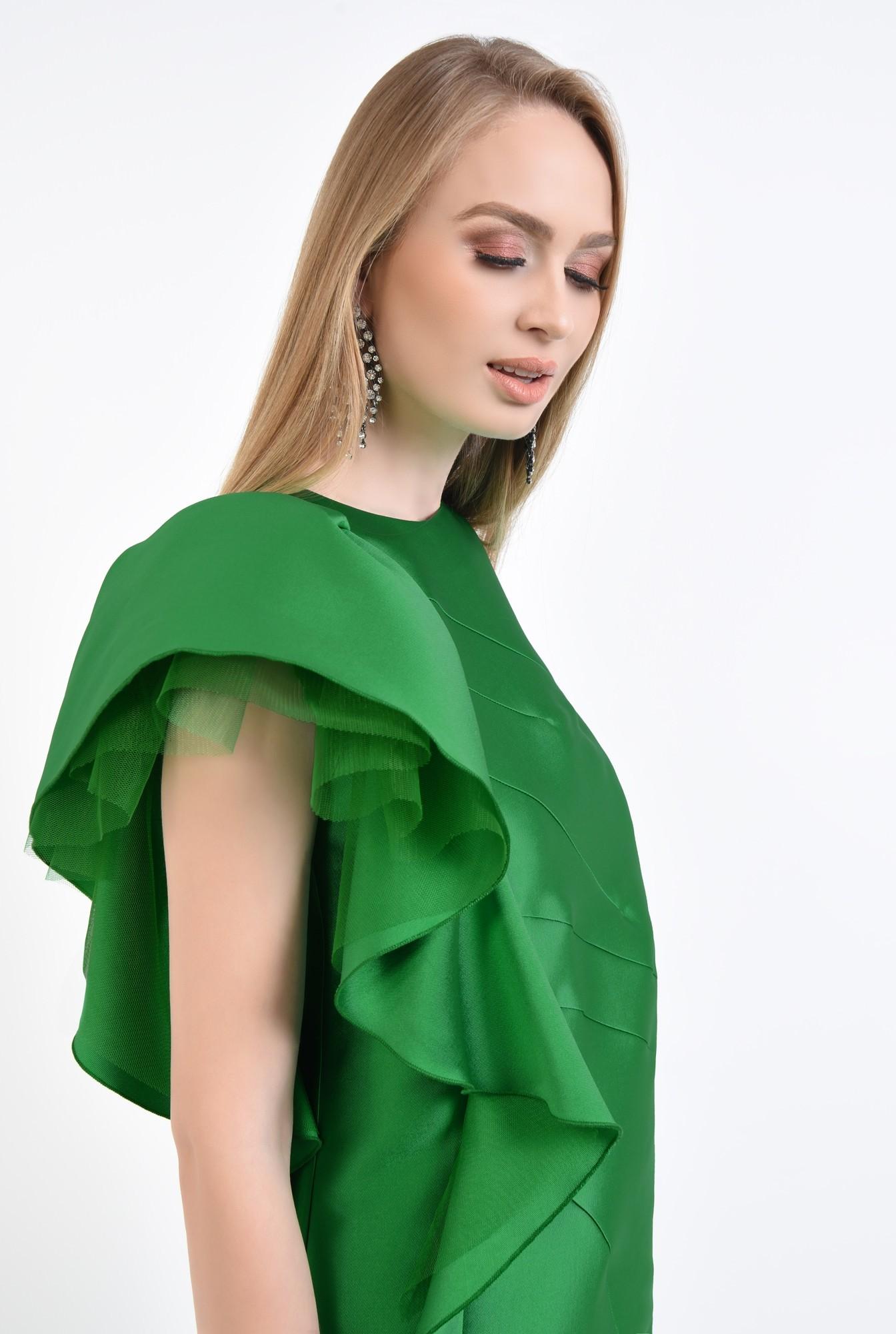2 - rochie de ocazie, tafta, verde, volan