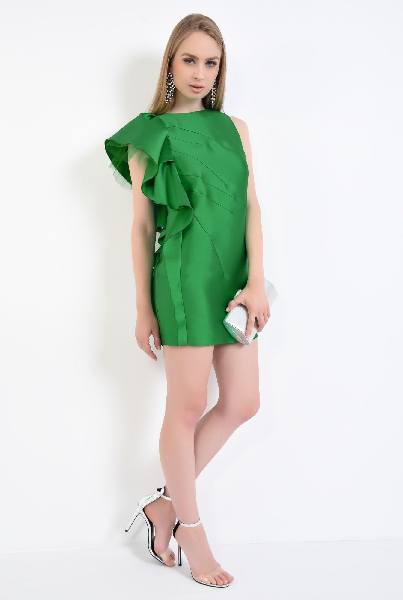 3 - rochie de ocazie, tafta, verde, volan