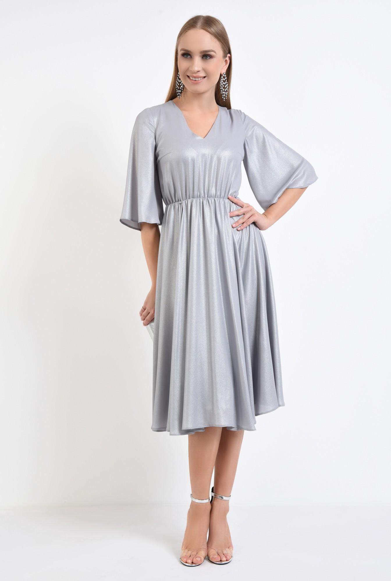 3 - rochie eleganta, clos, lurex, argintiu
