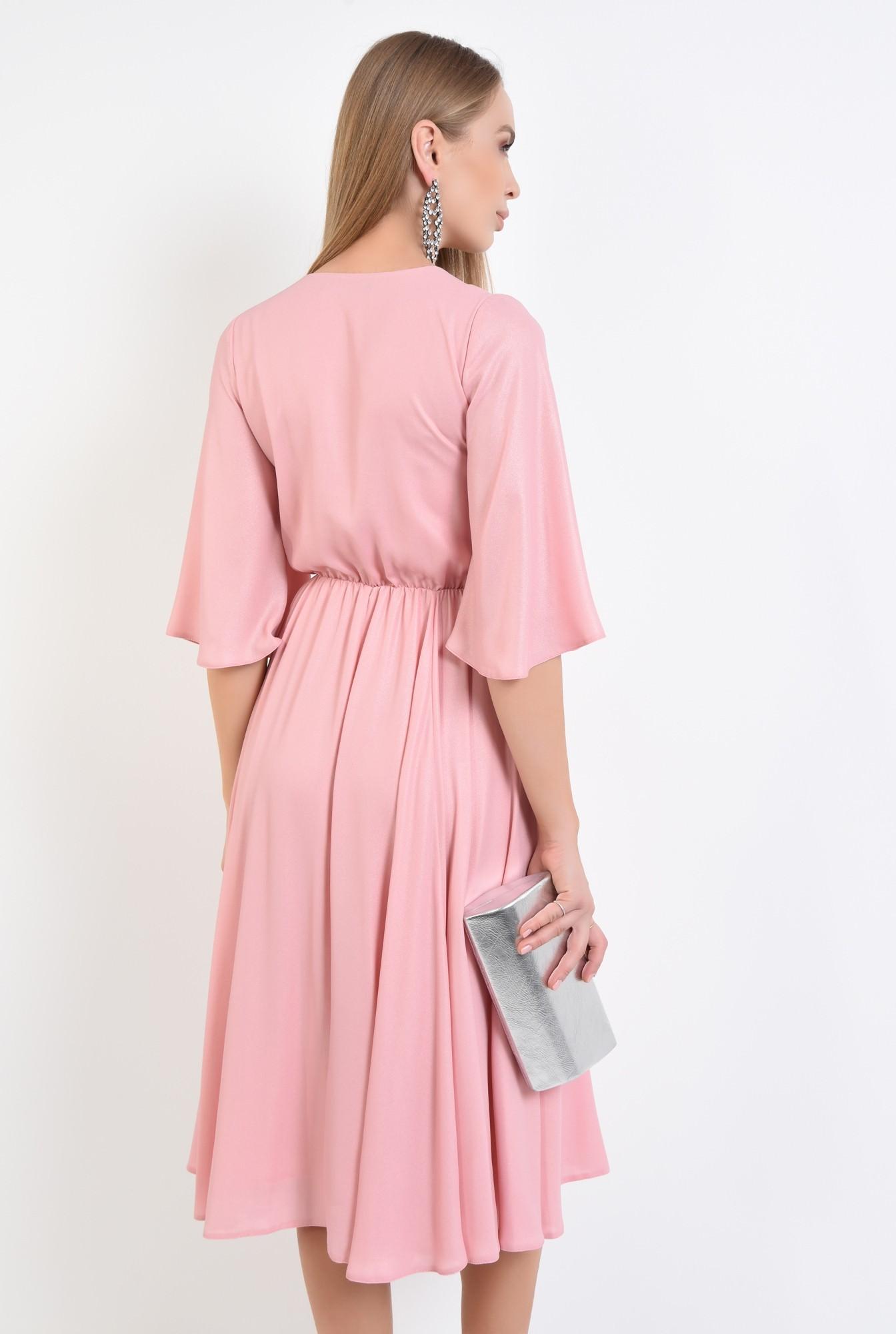 1 - rochie eleganta cloche, roz, lurex, midi