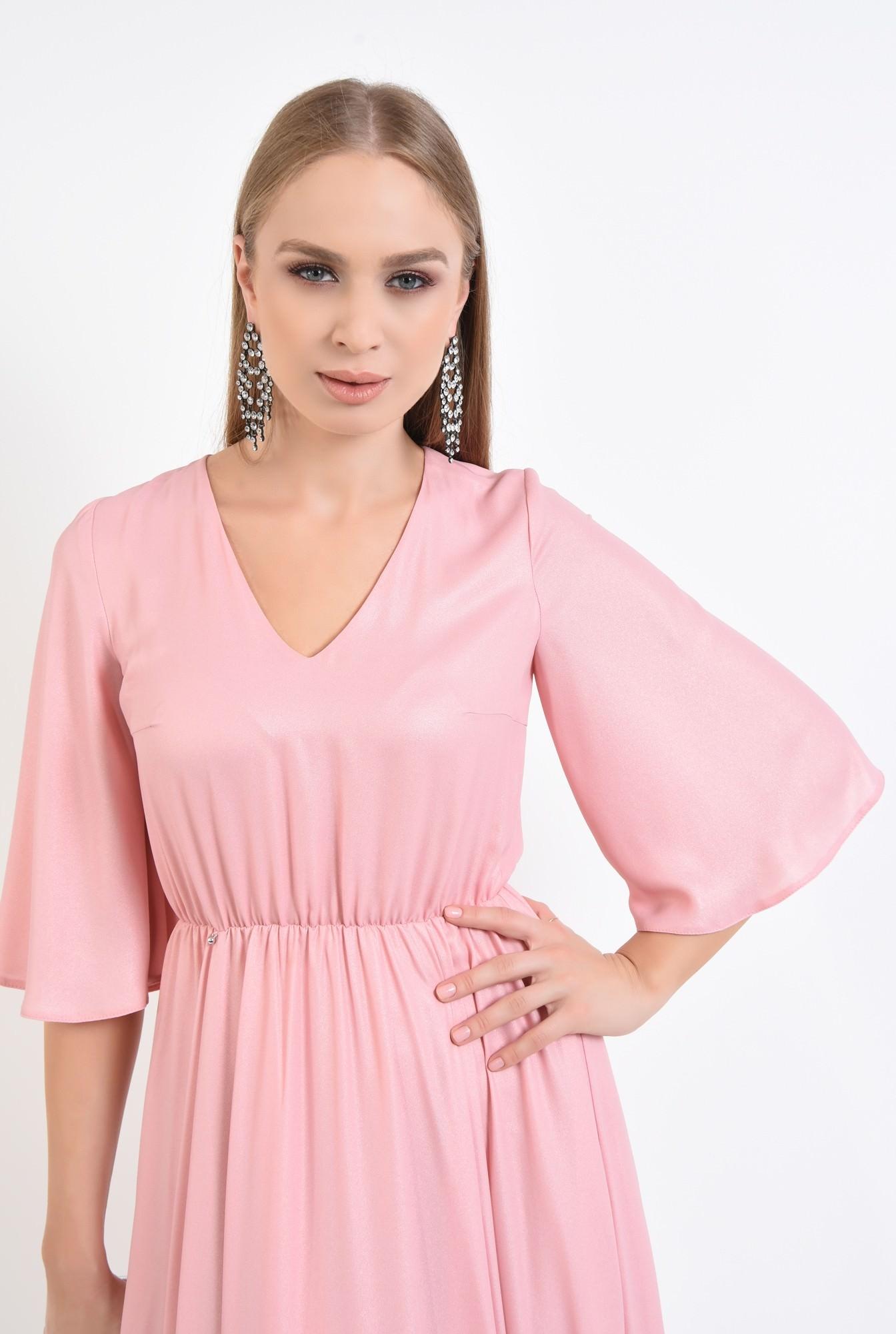 2 - rochie eleganta cloche, roz, lurex, midi