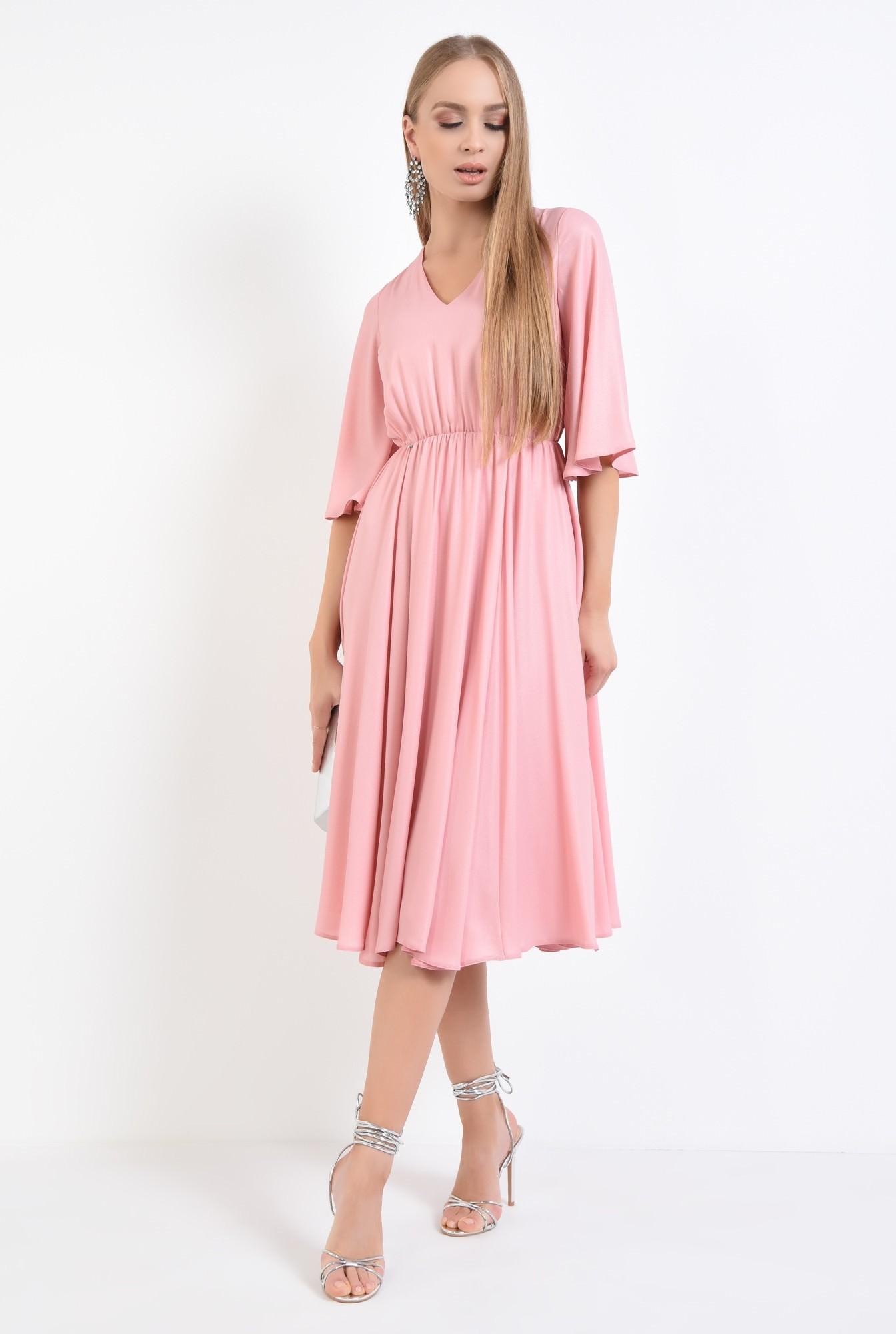 3 - rochie eleganta cloche, roz, lurex, midi