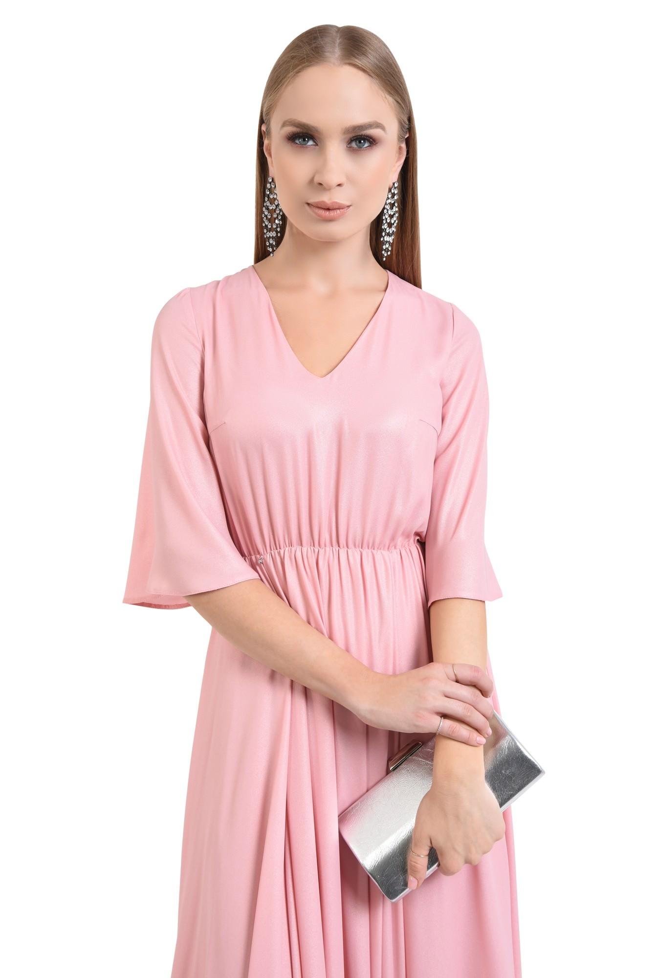 0 - rochie eleganta cloche, roz, lurex, midi