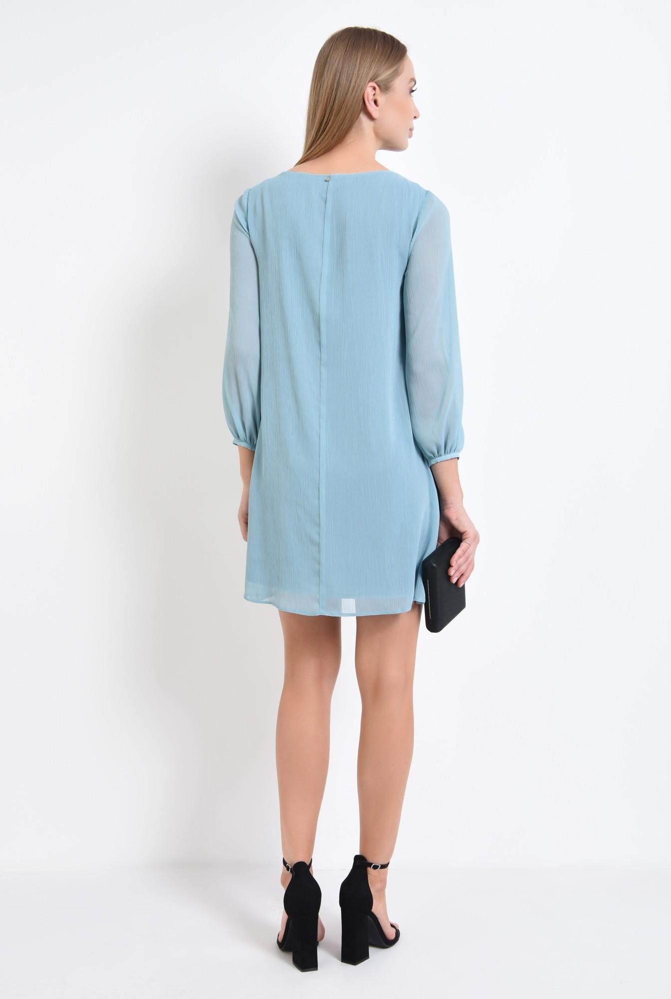 1 - rochie eleganta, bleu, rips, negru, contrast