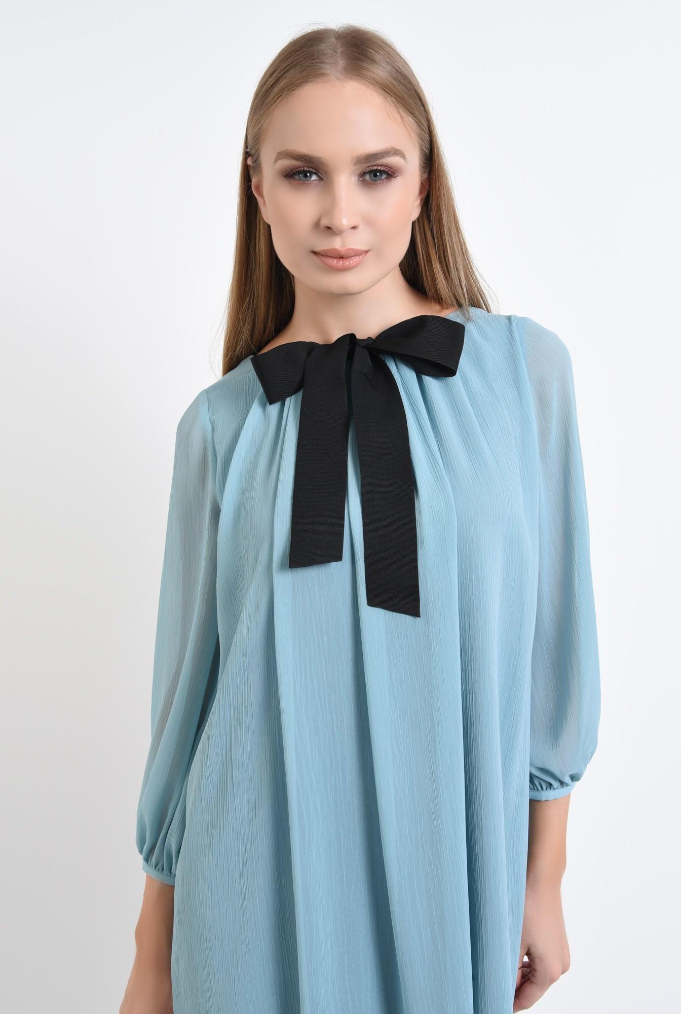 2 - rochie eleganta, bleu, rips, negru, contrast