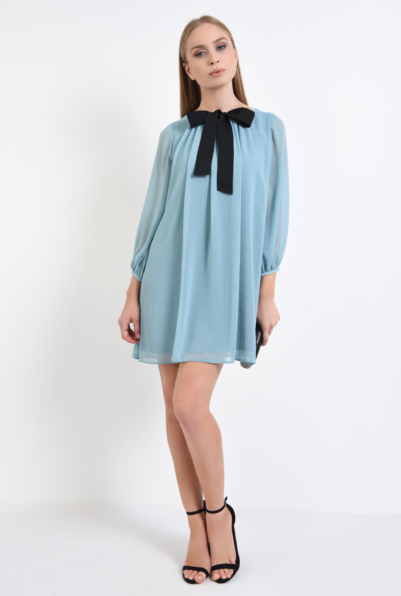 3 - rochie eleganta, bleu, rips, negru, contrast