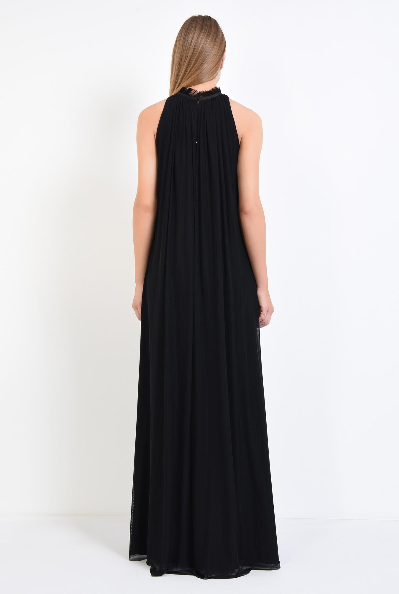 1 - rochie de ocazie, maxi, crapeu, accesoriu floral, tul, negru