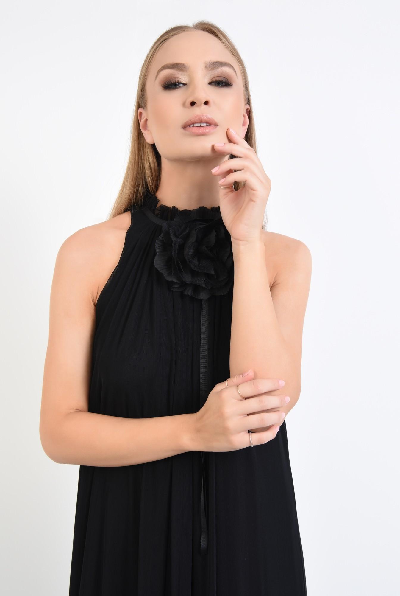 2 - rochie de ocazie, maxi, crapeu, accesoriu floral, tul, negru