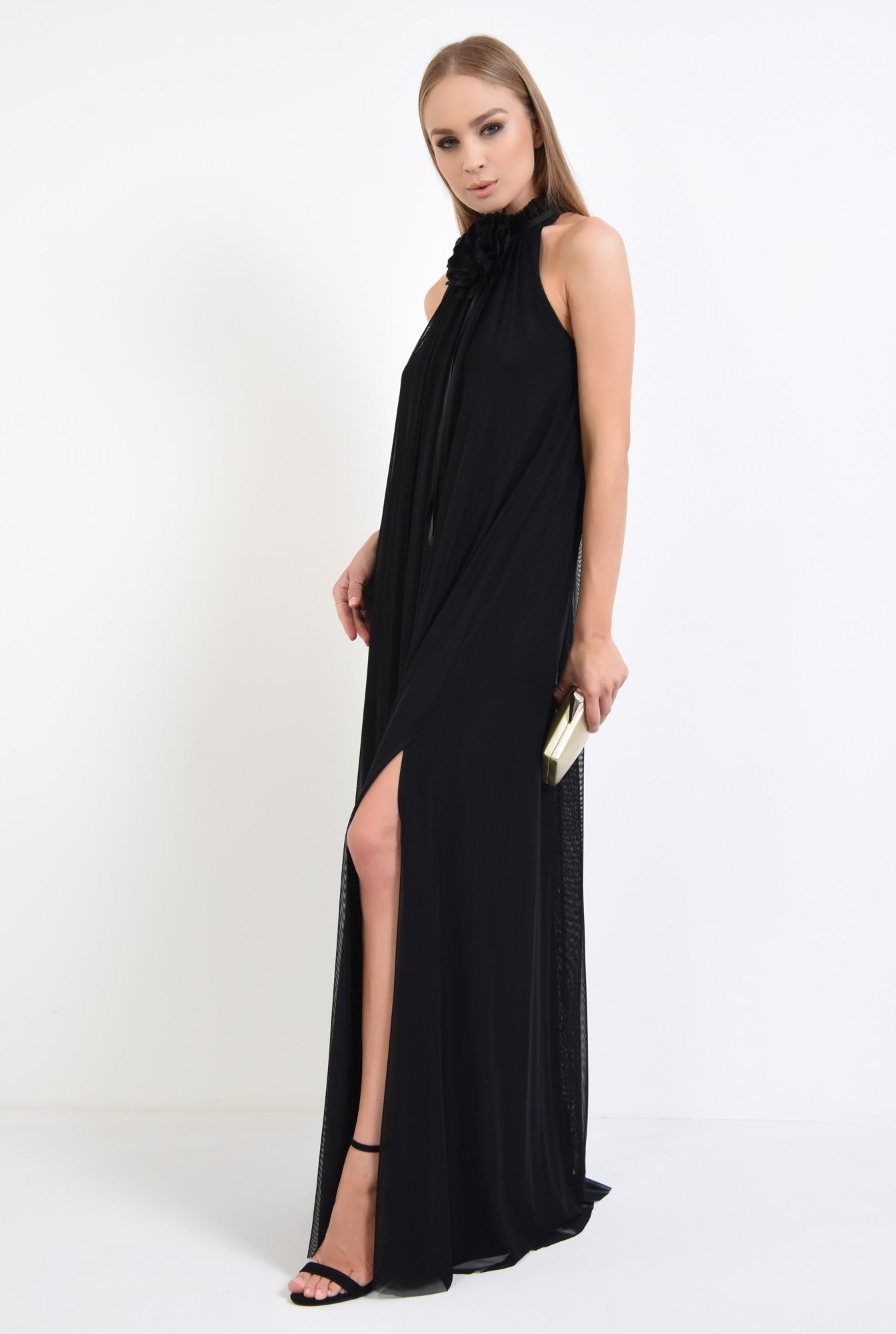 3 - rochie de ocazie, maxi, crapeu, accesoriu floral, tul, negru