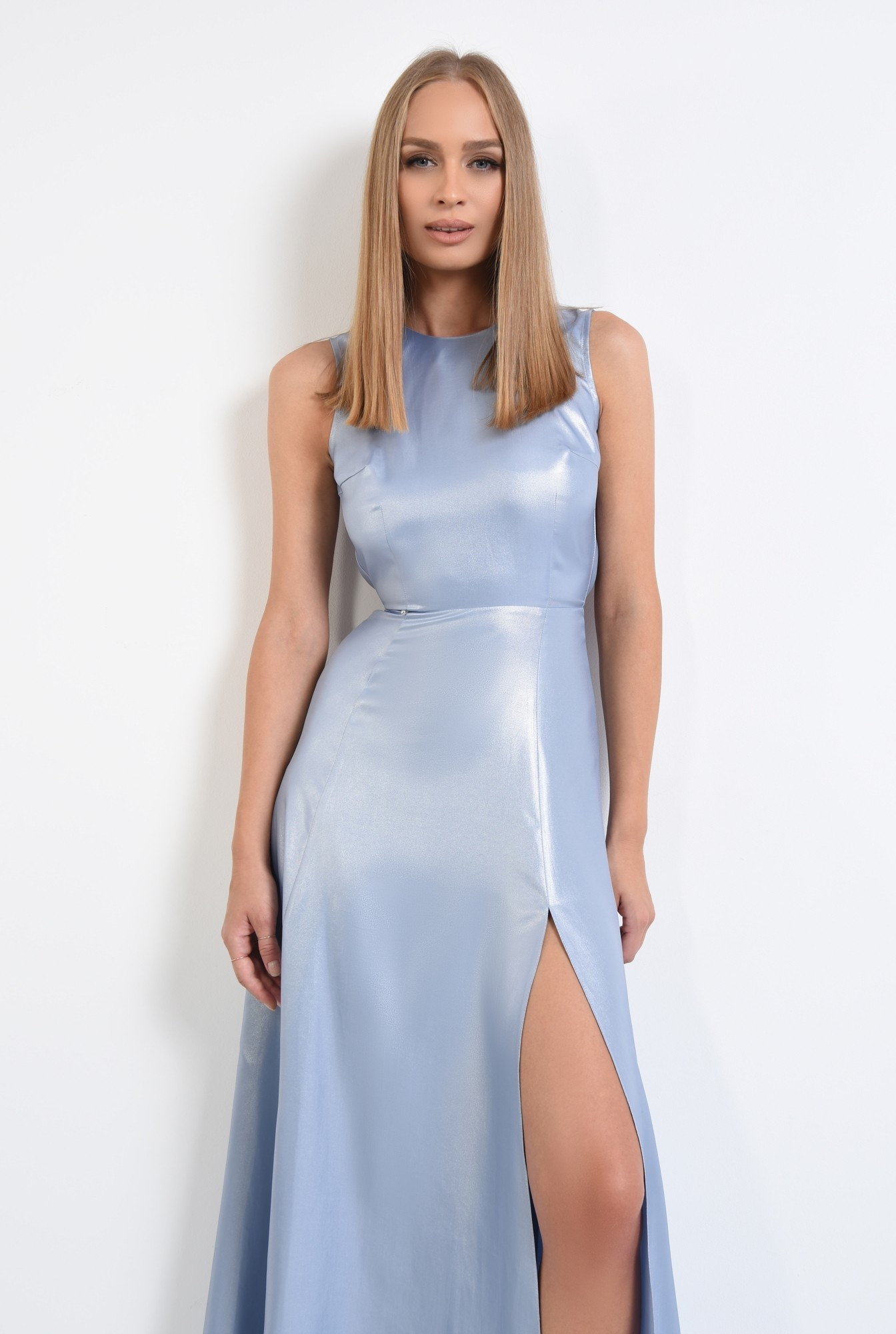 2 - rochie de seara, maxi, aspect metalic