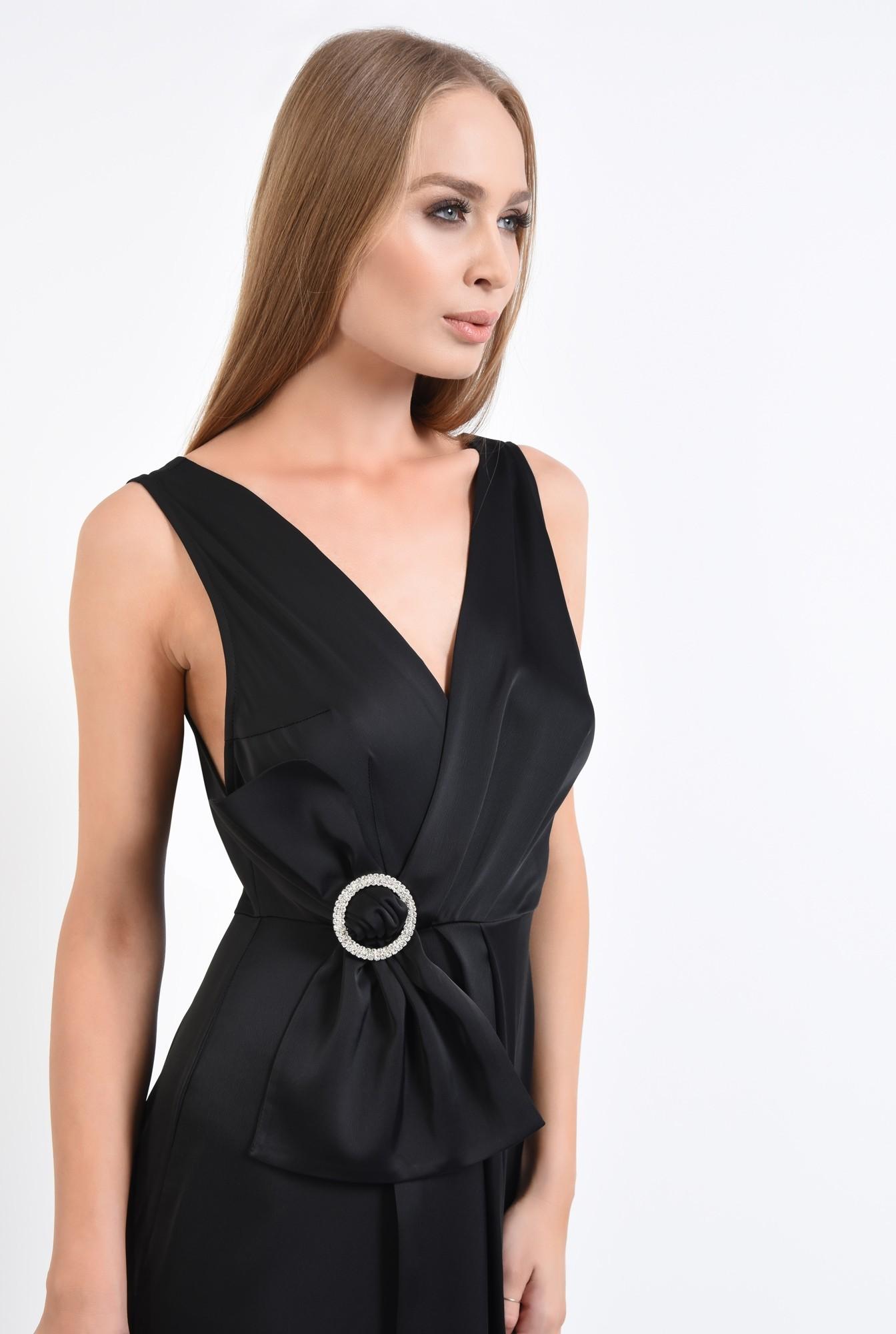 2 - rochie de seara, petrecuta, neagra, satin, cu funda, strasuri