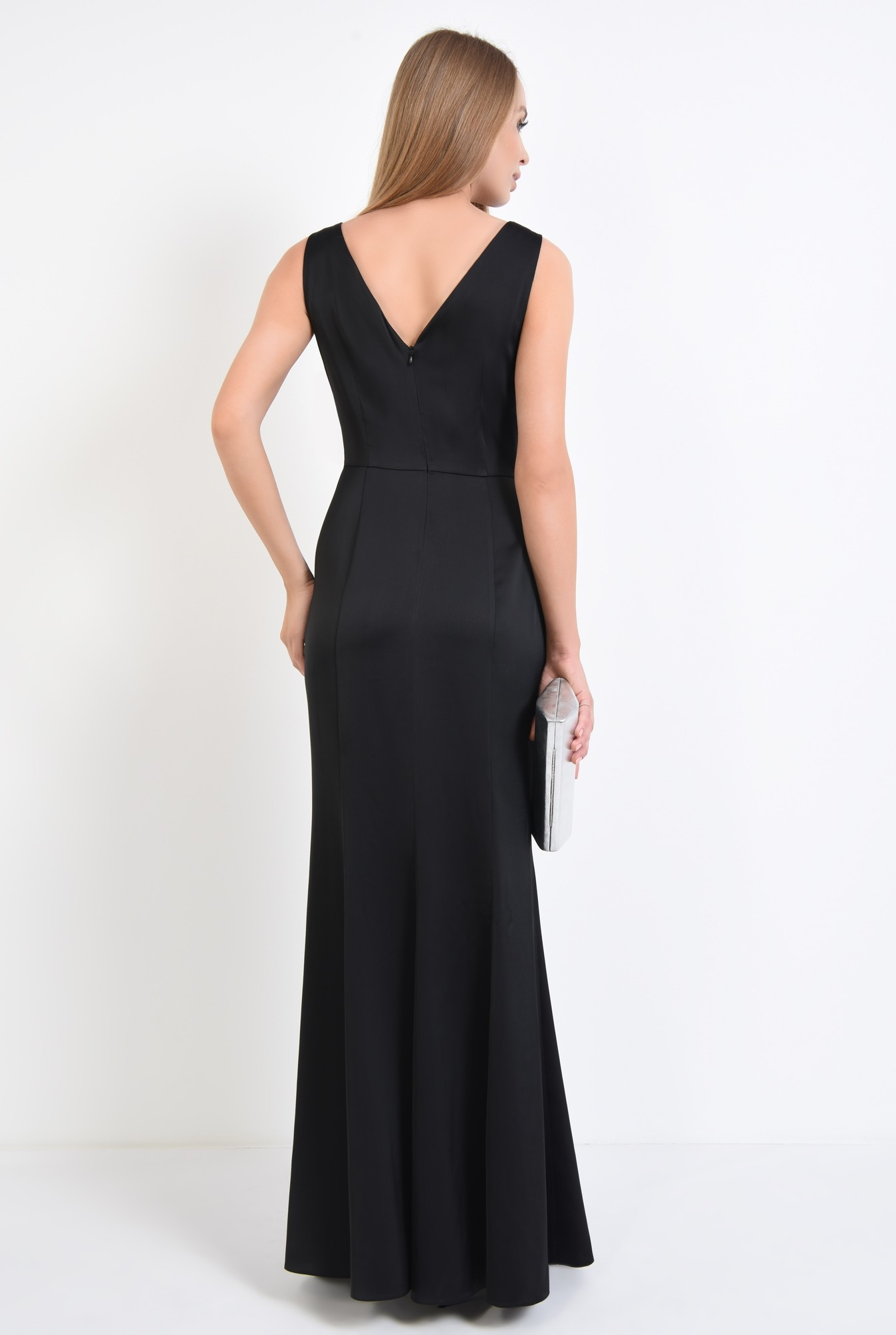 1 - rochie de seara, petrecuta, neagra, satin, cu funda, strasuri