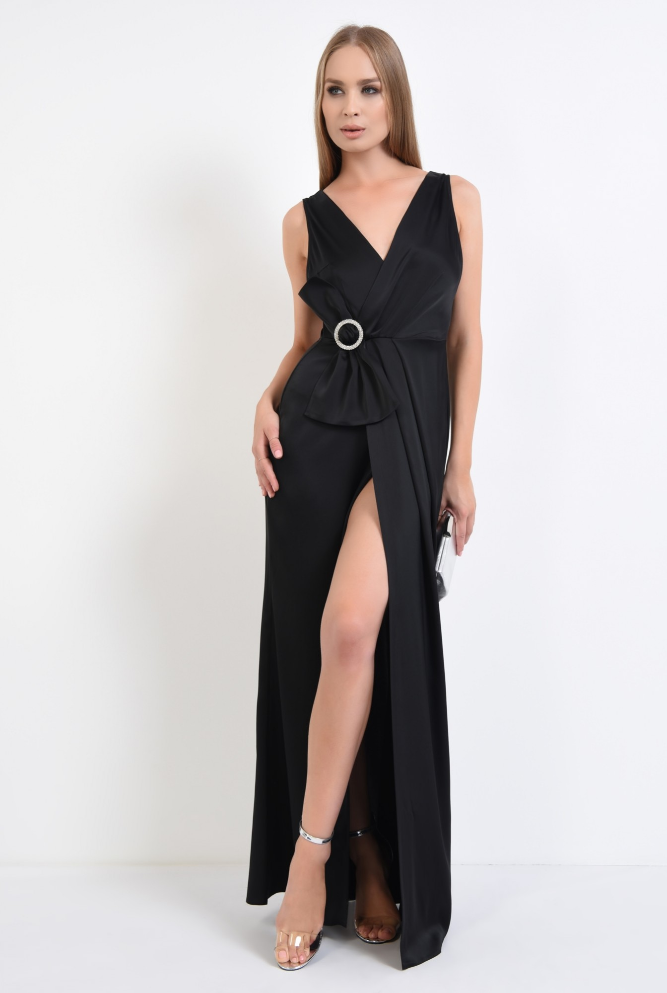 3 - rochie de seara, petrecuta, neagra, satin, cu funda, strasuri