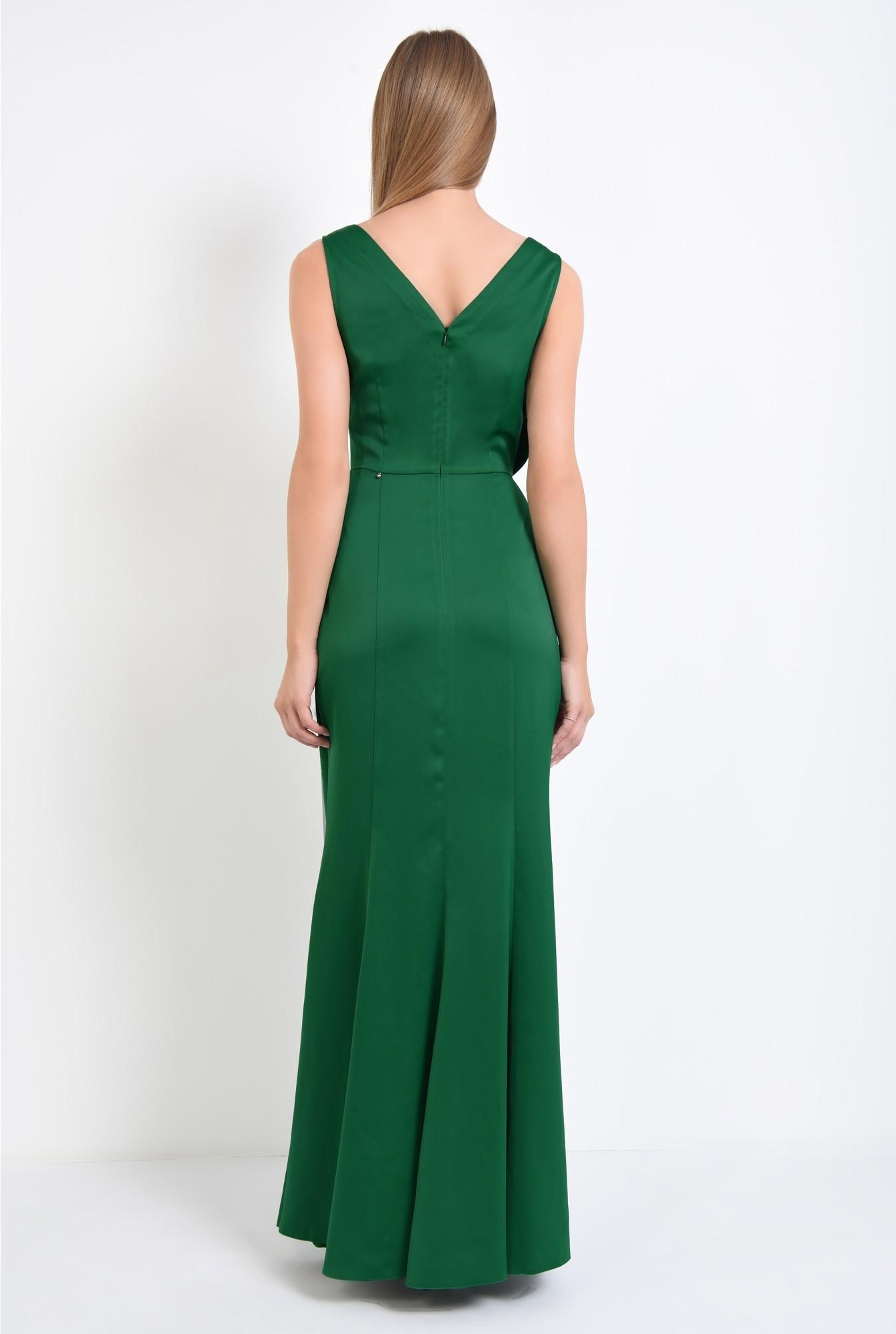 1 - rochie de ocazie, verde, satin, parte peste parte, funda supradimensionata